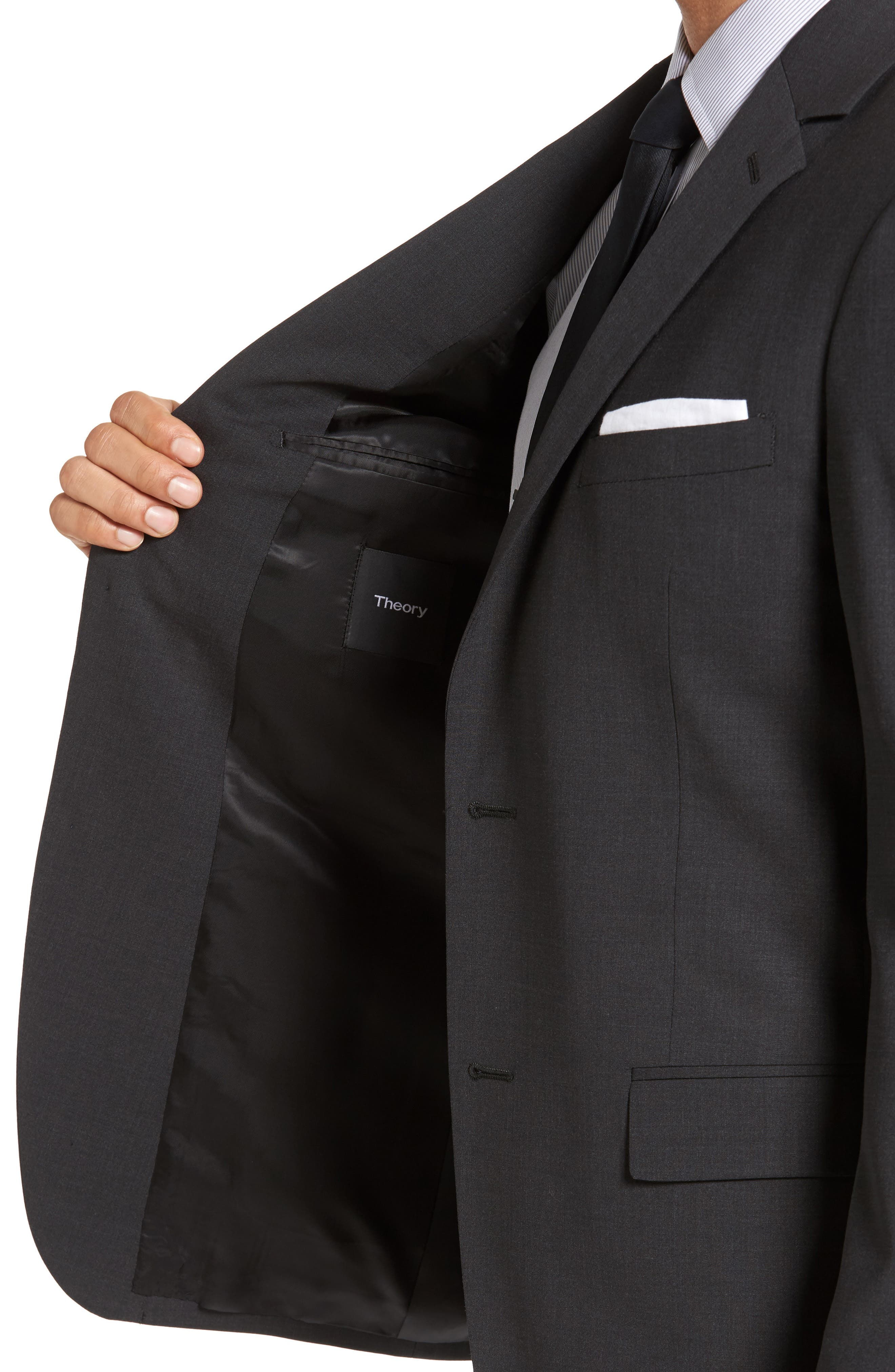 Wellar New Tailor 1 Trim Fit Stretch Wool Sport Coat,                             Alternate thumbnail 4, color,                             DARK CHARCOAL