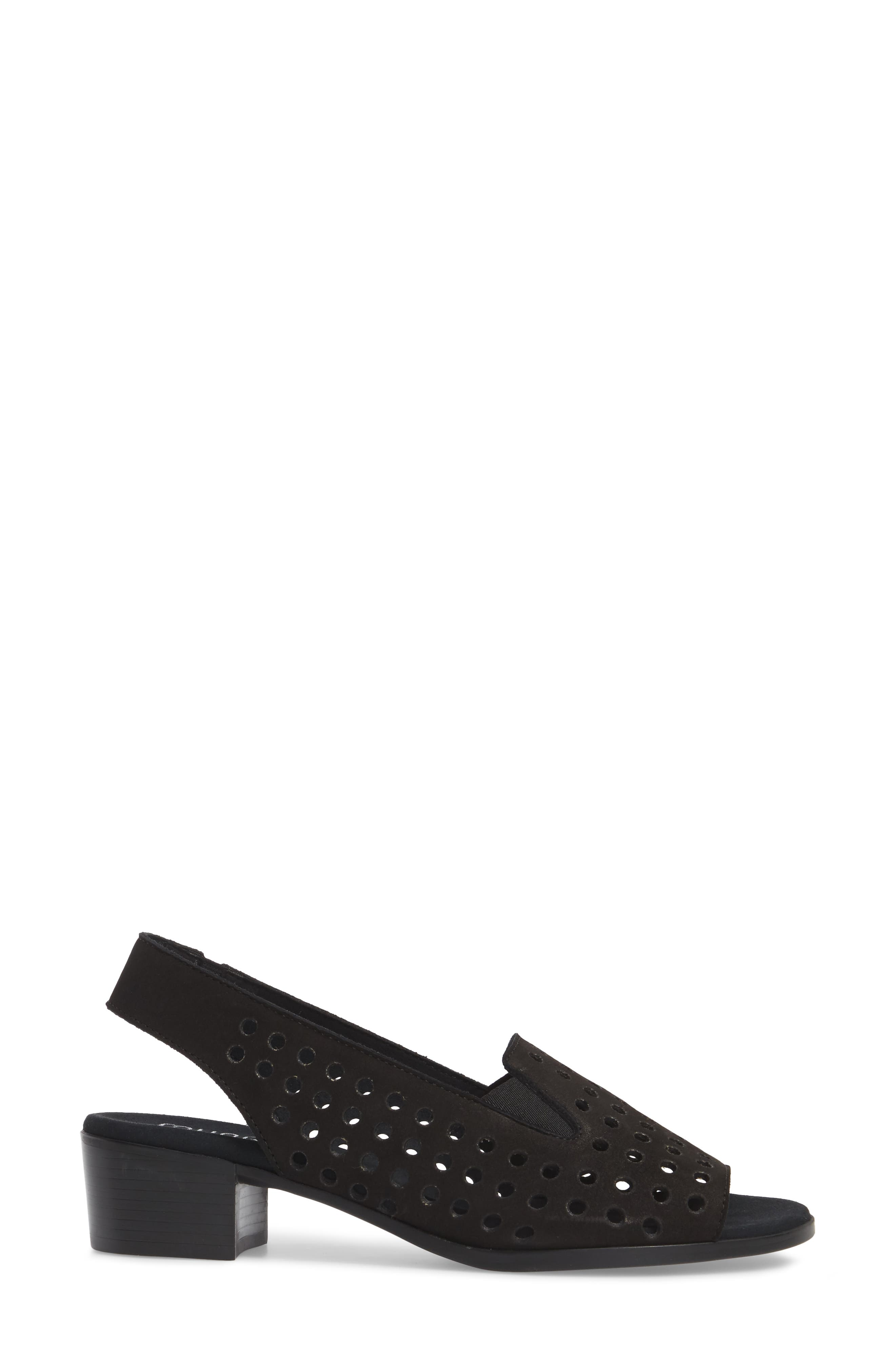 Mickee Slingback Sandal,                             Alternate thumbnail 3, color,                             BLACK NUBUCK LEATHER