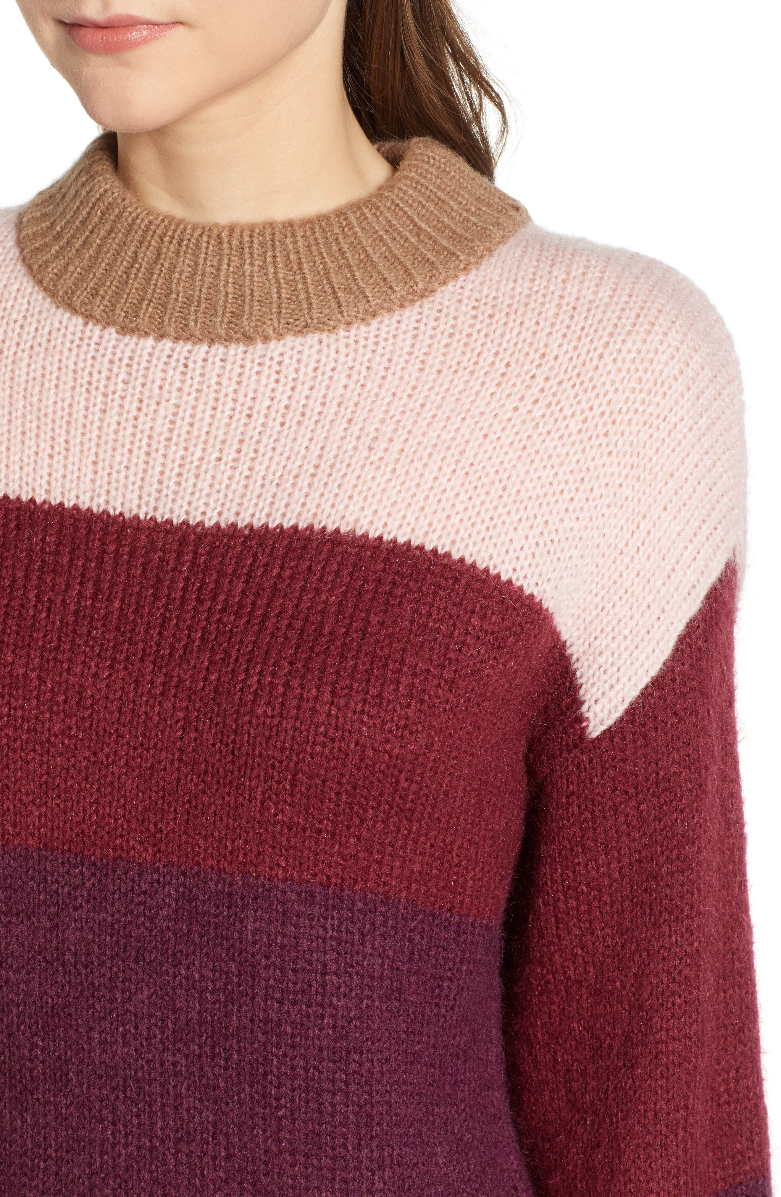 Kendall Stripe Sweater,                             Alternate thumbnail 4, color,                             CAMEL MULTI