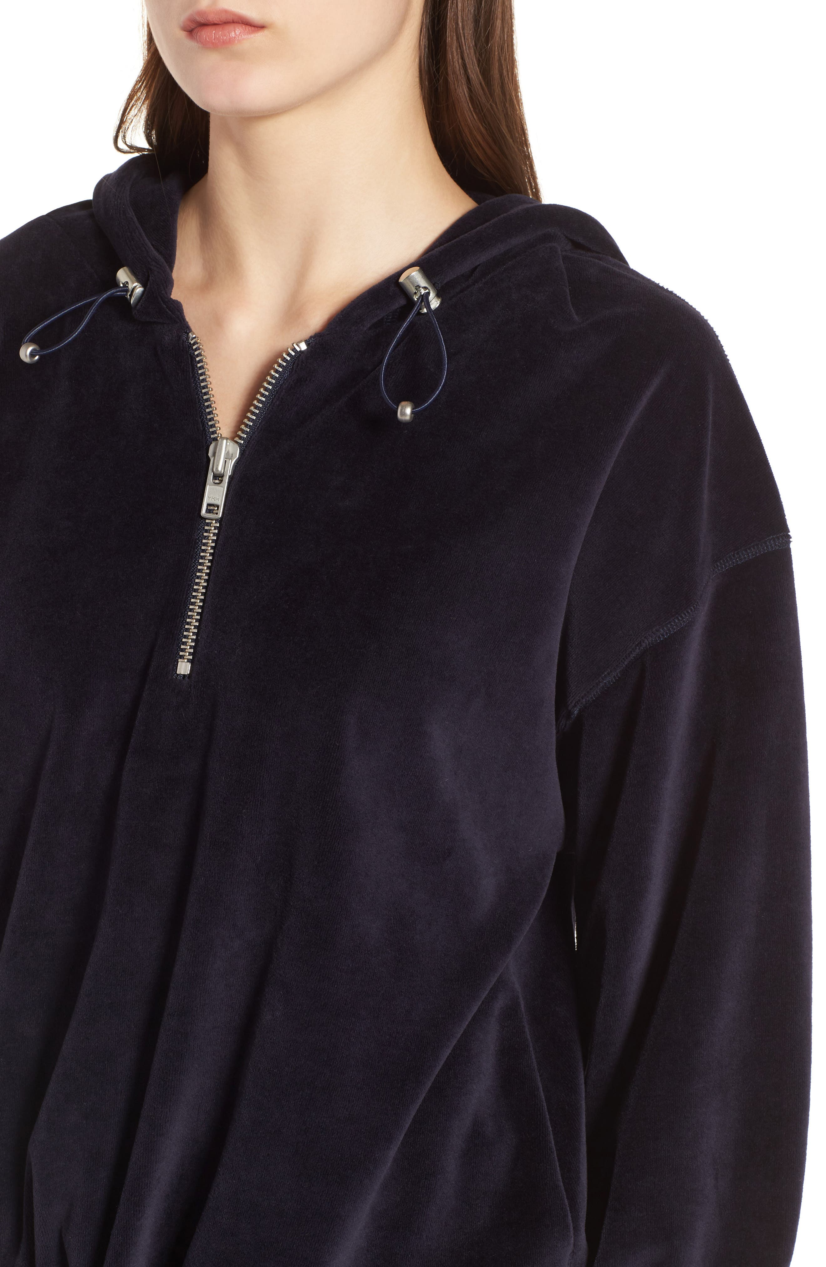 Oversize Velour Hoodie,                             Alternate thumbnail 4, color,                             001