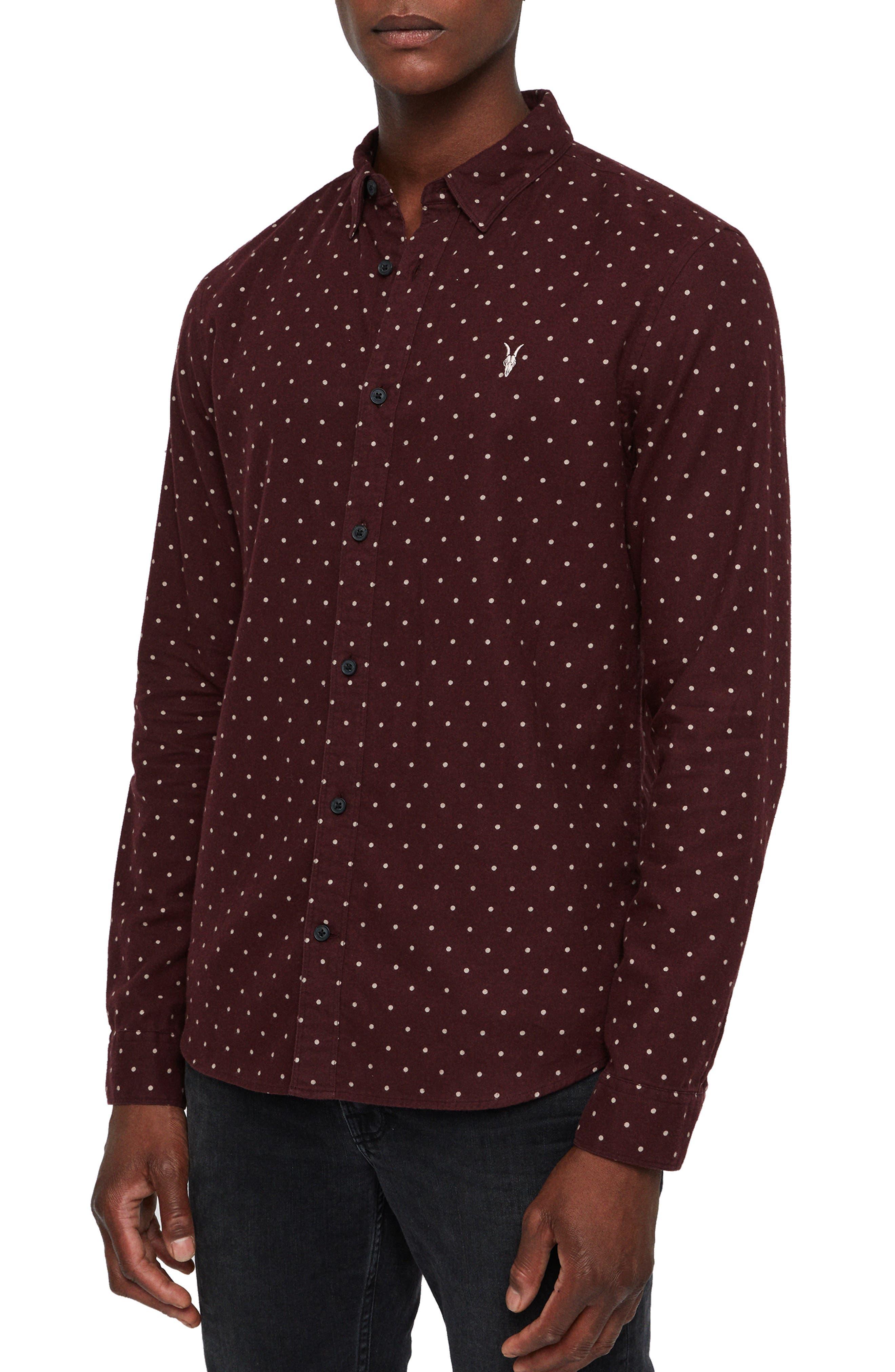Bethel Slim Fit Dot Flannel Shirt,                             Alternate thumbnail 4, color,                             DARK RUST/ ECRU