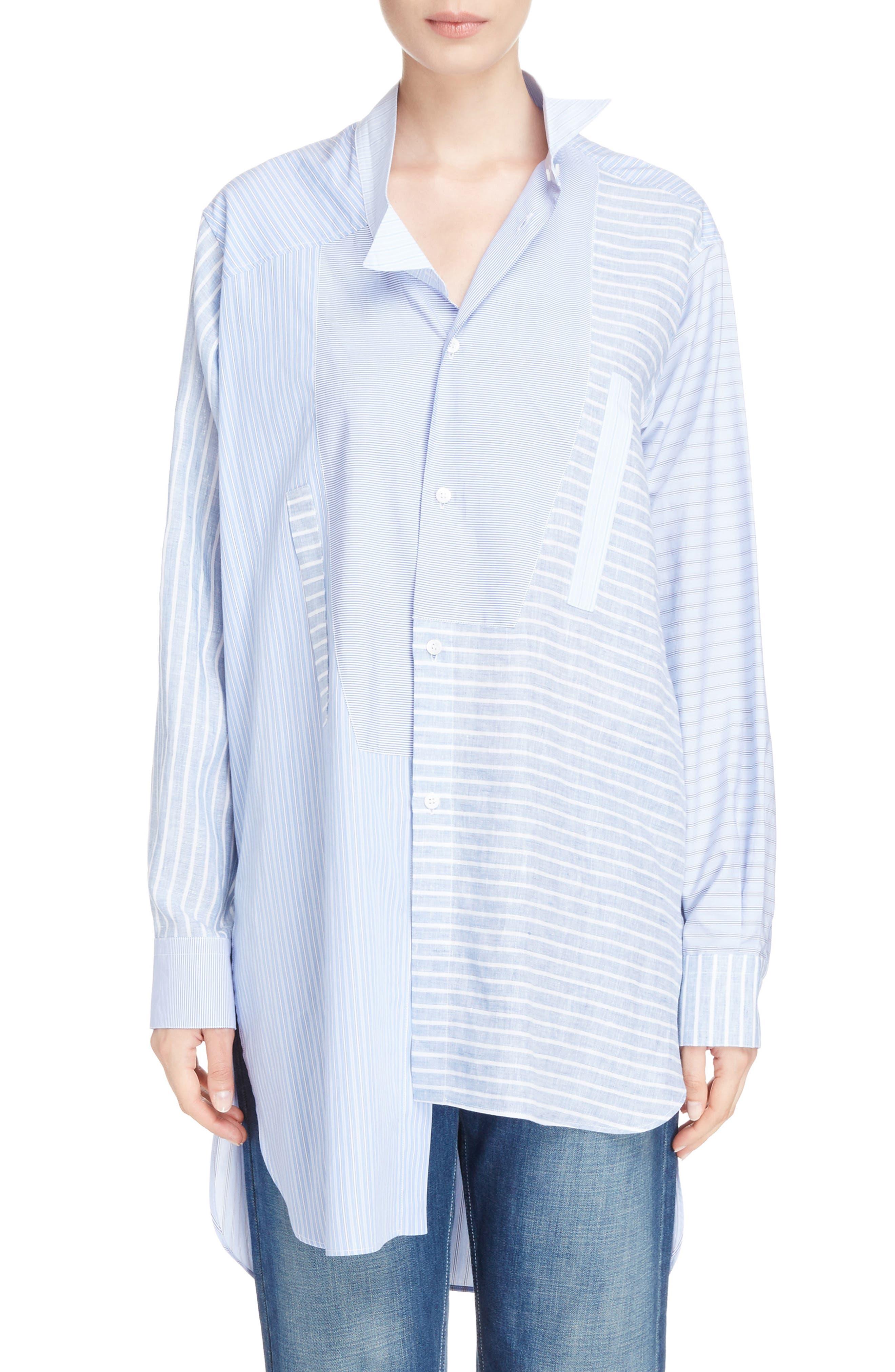 Patchwork Cotton & Linen Shirt,                             Main thumbnail 1, color,                             469