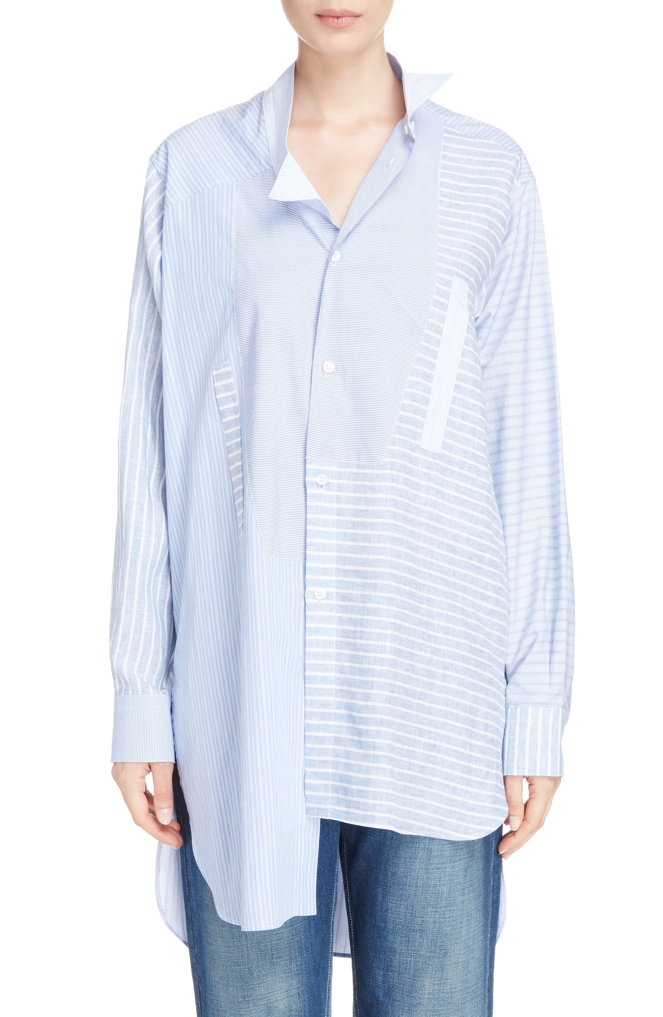 Patchwork Cotton & Linen Shirt,                         Main,                         color, 469