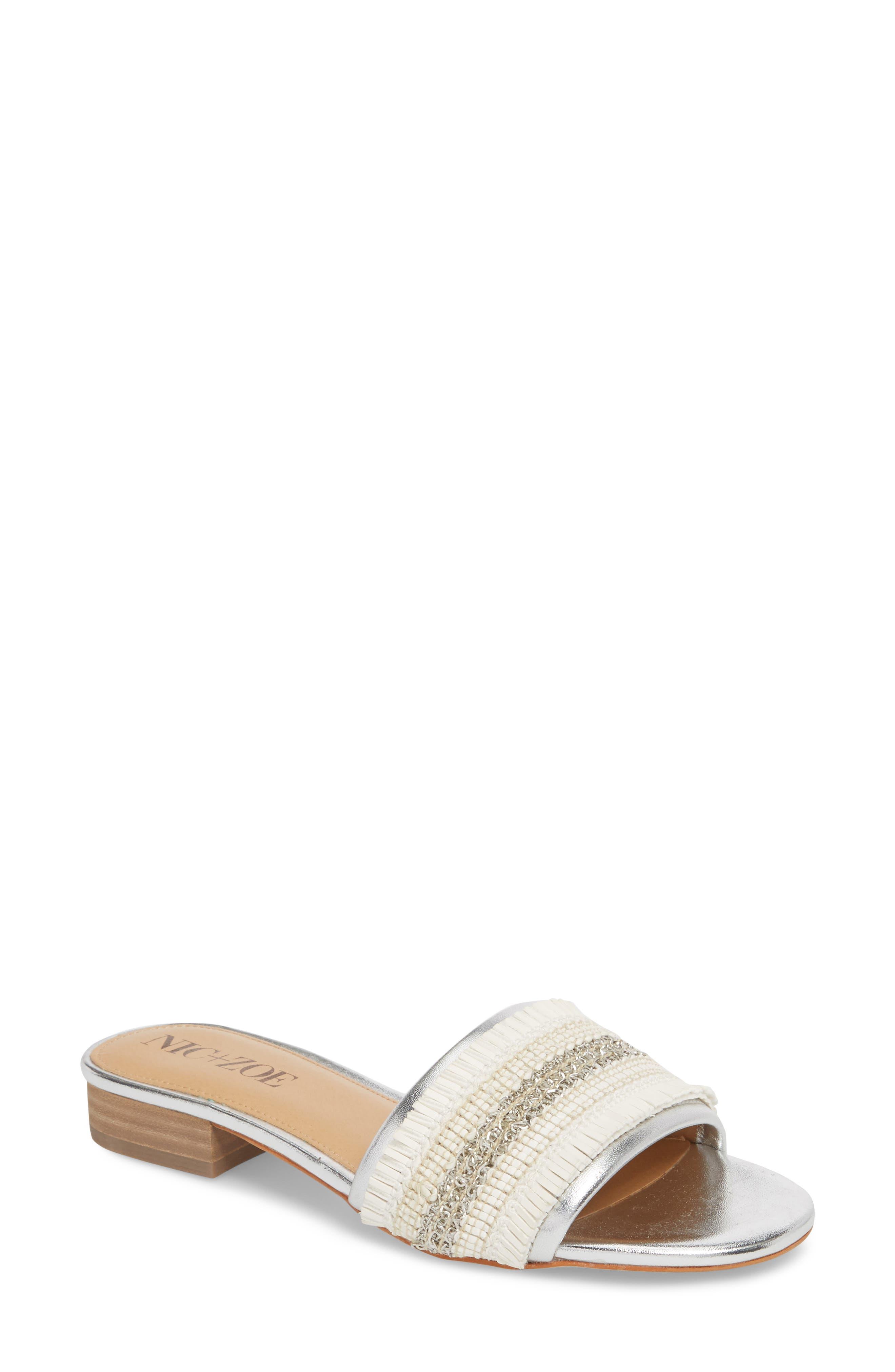 NIC + ZOE Sandy Slide Sandal,                         Main,                         color, SILVER/ WHITE FABRIC