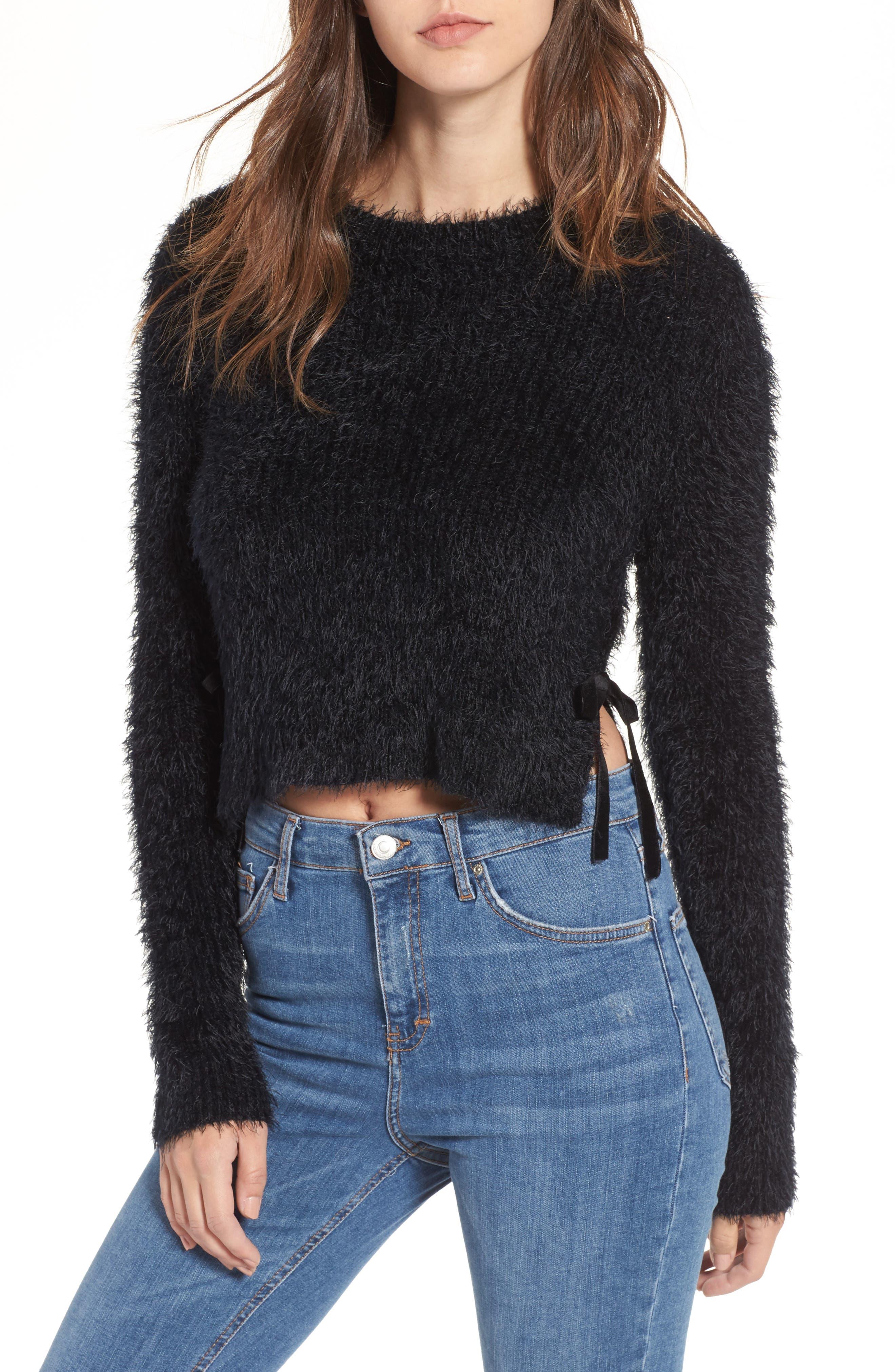 MAJORELLE Majesty Tie Crop Sweater, Main, color, 001