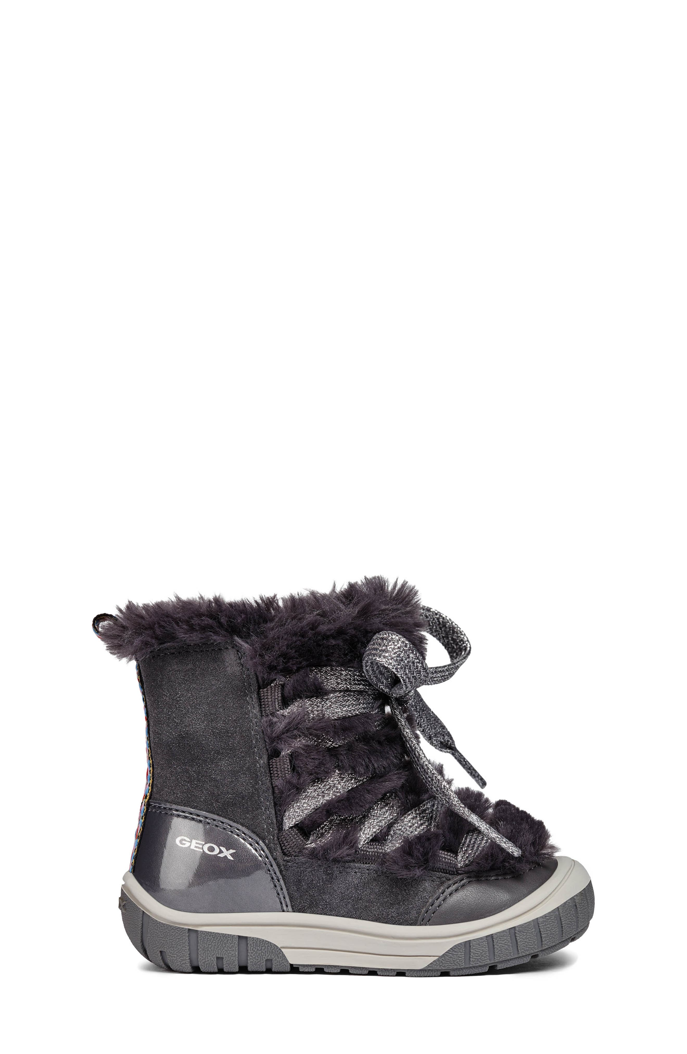 Omar Lace Up Boot with Faux Fur Trim,                             Alternate thumbnail 3, color,                             DARK GREY
