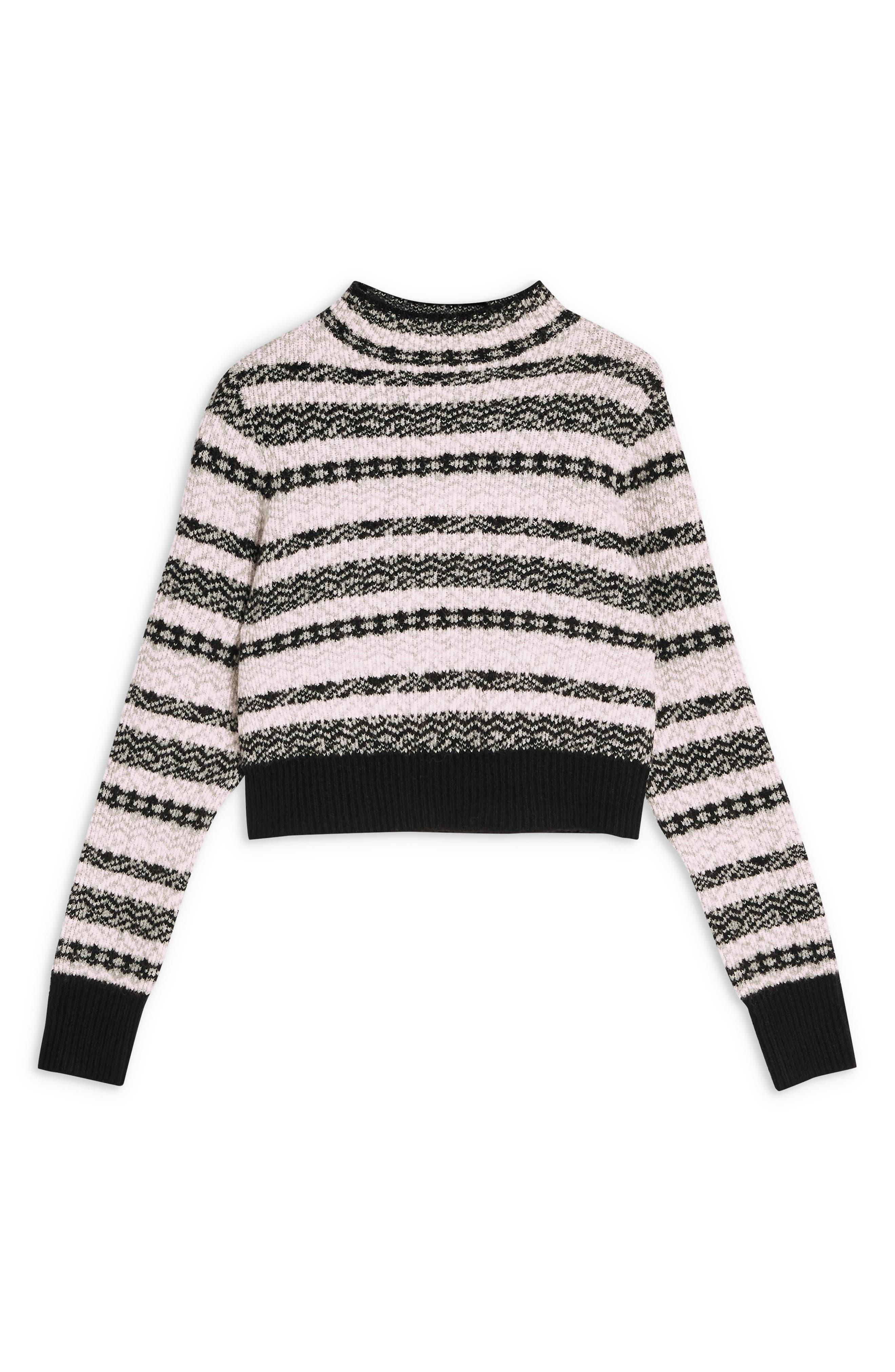Fair Isle Crop Sweater,                             Alternate thumbnail 3, color,                             BLACK MULTI