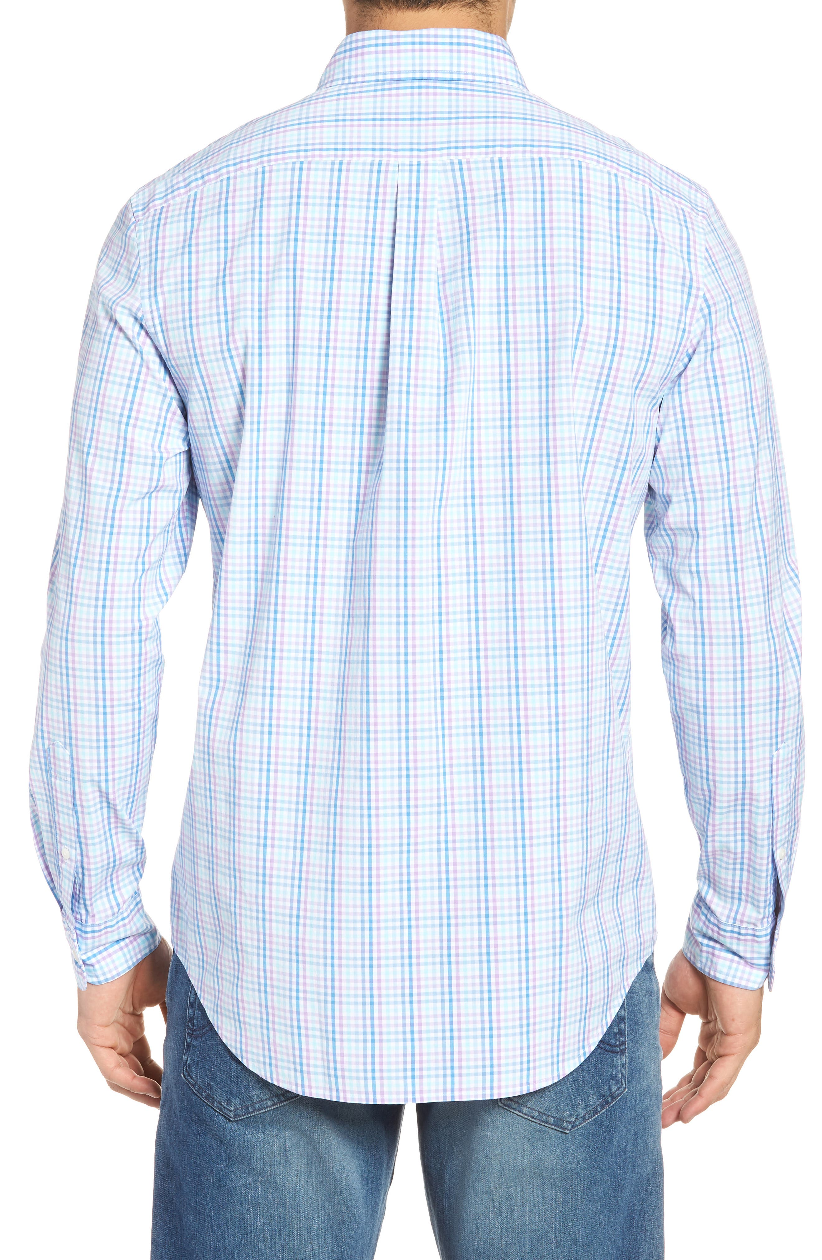 Friendly Island Classic Fit Stretch Check Sport Shirt,                             Alternate thumbnail 2, color,