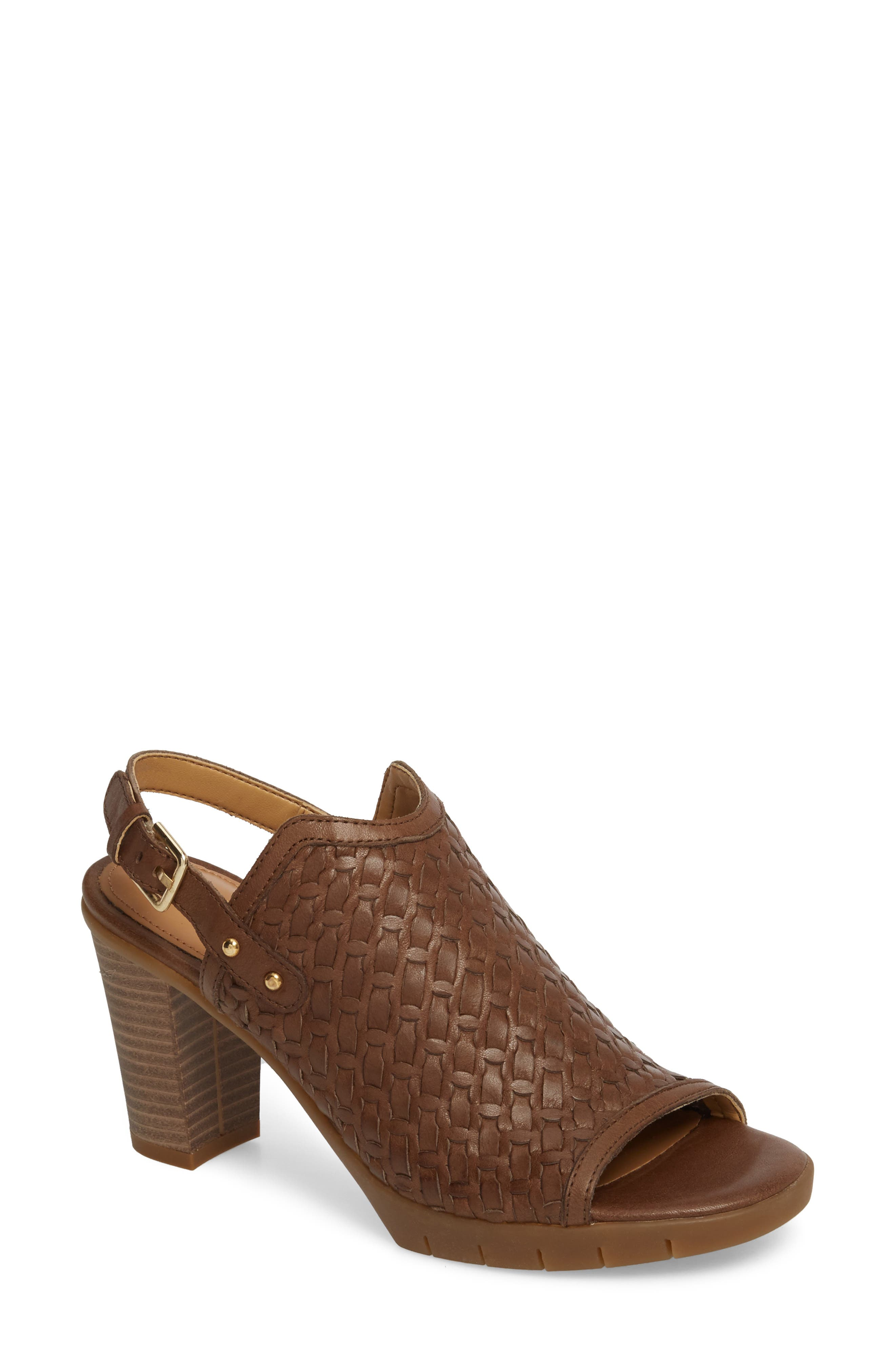 Weave Me Be Slingback Sandal,                             Main thumbnail 1, color,                             CHOCOLATE LEATHER