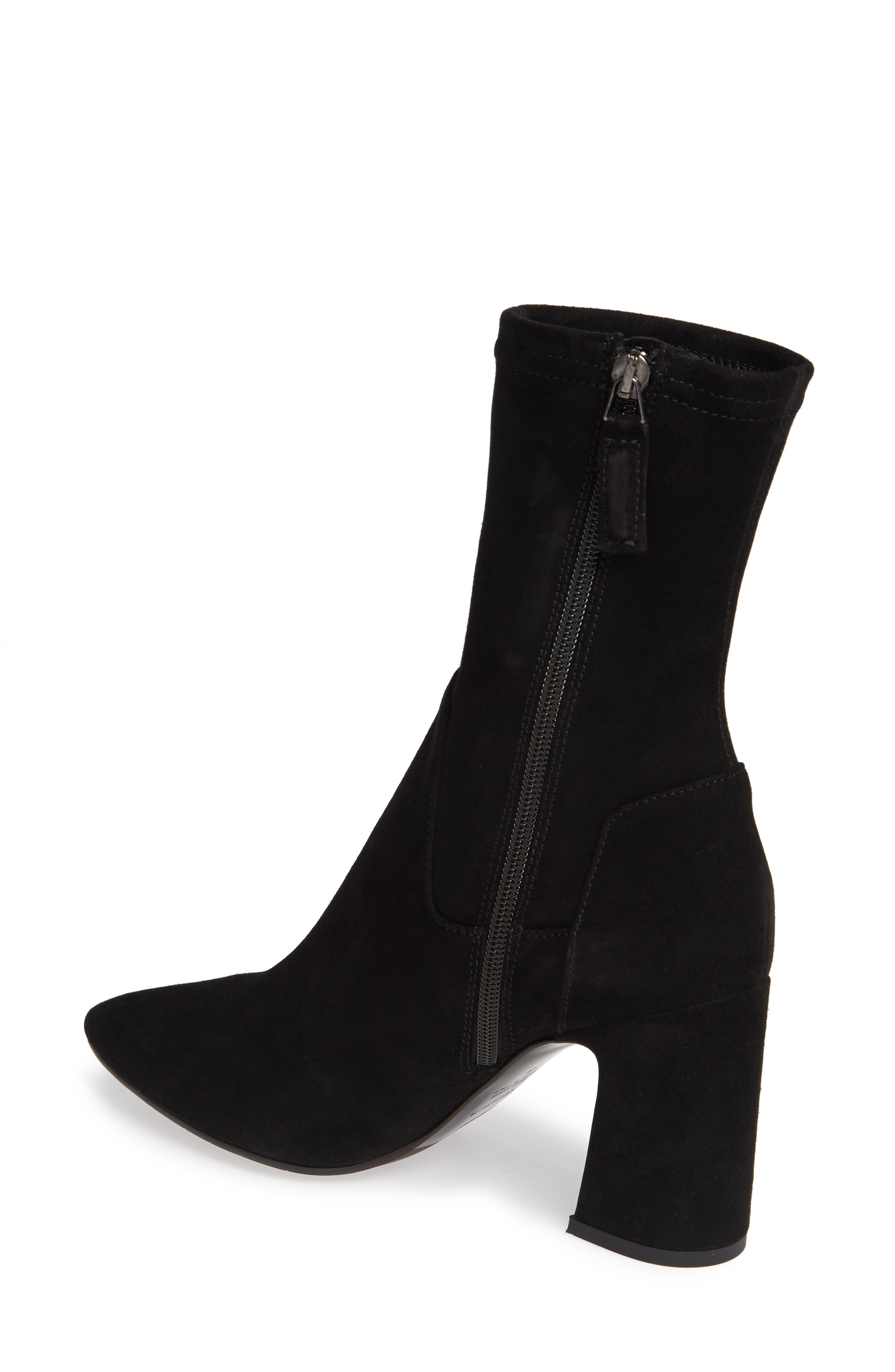 Nastasia Stretch Suede Boot,                             Alternate thumbnail 2, color,                             BLACK SUEDE