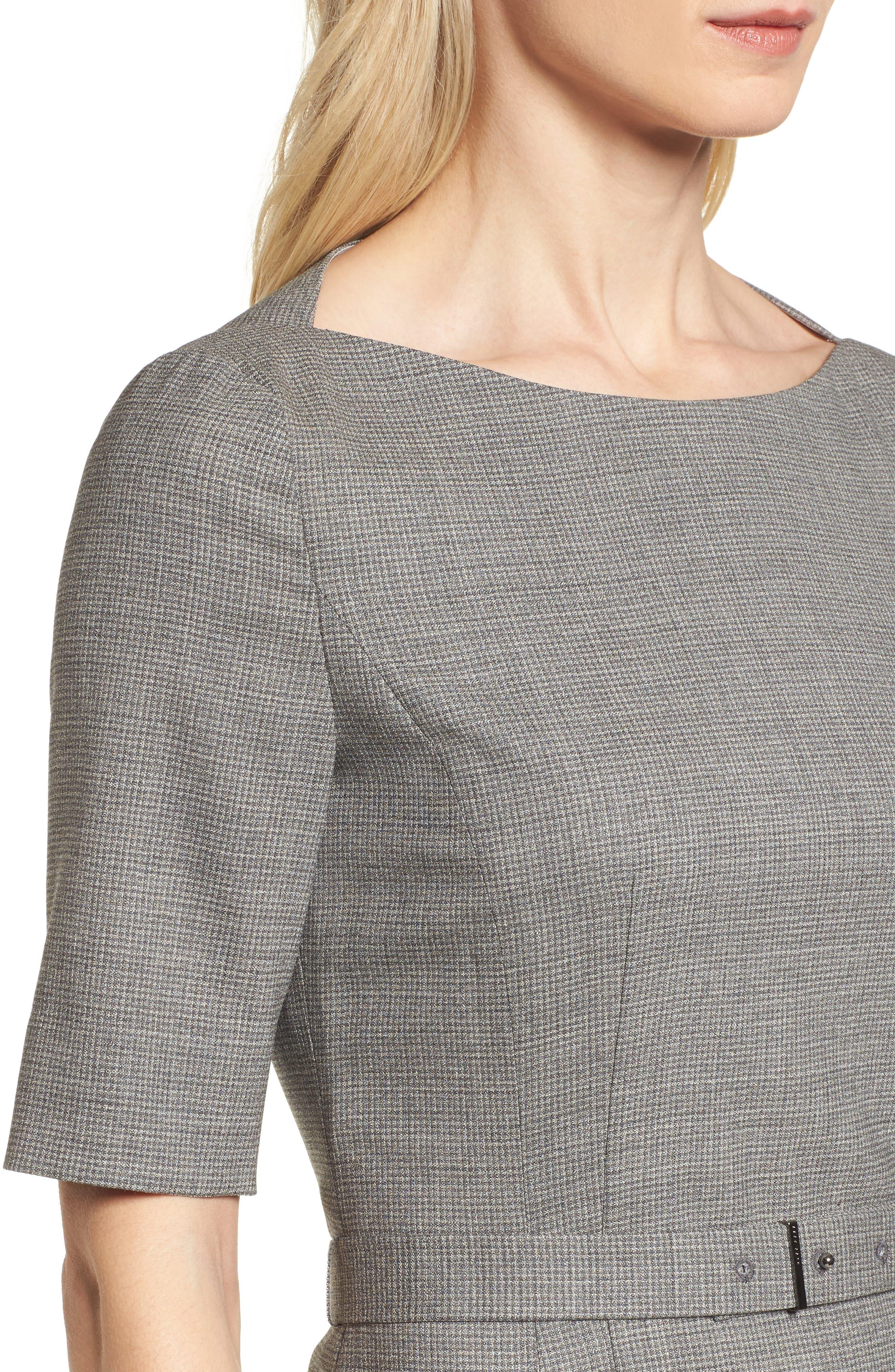 Dewisa Check Wool Sheath Dress,                             Alternate thumbnail 4, color,