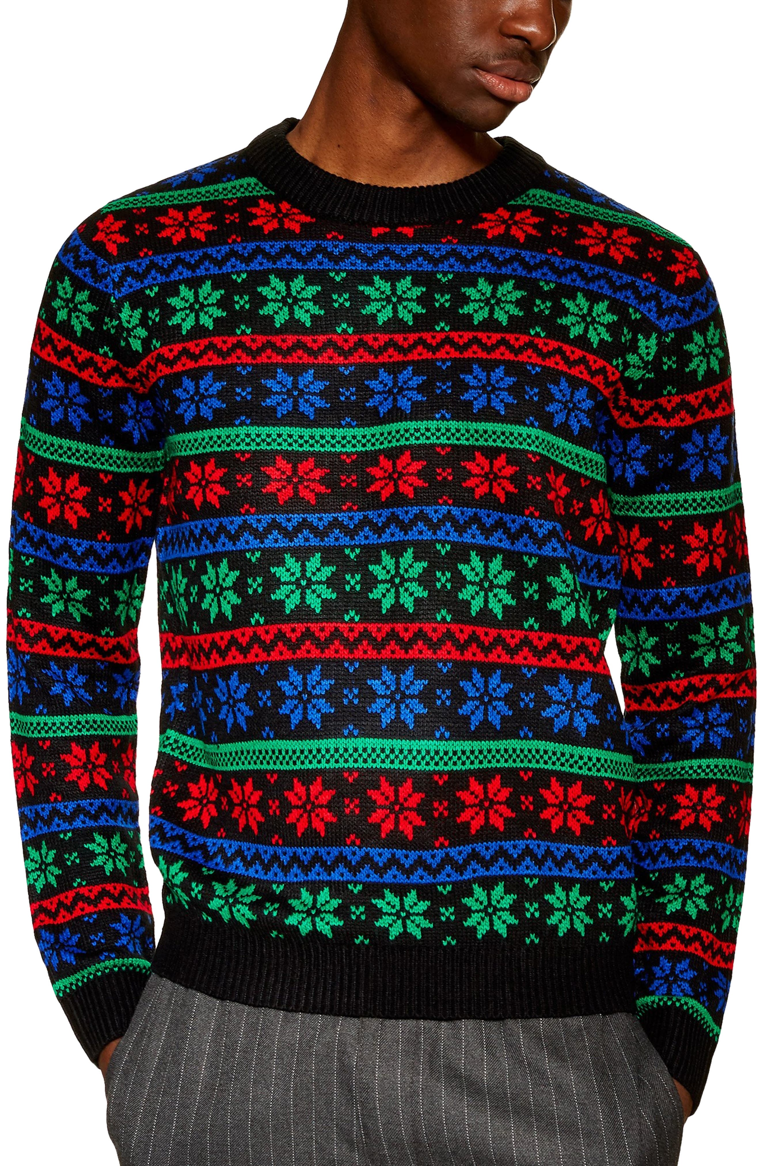 Snowflake Sweater, Main, color, BLACK MULTI