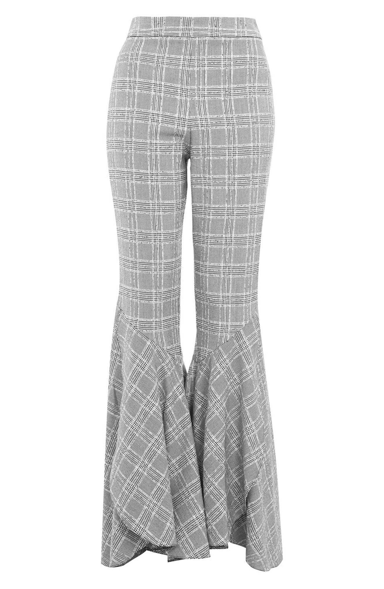 Checked Super Flare Trousers,                             Alternate thumbnail 3, color,                             021