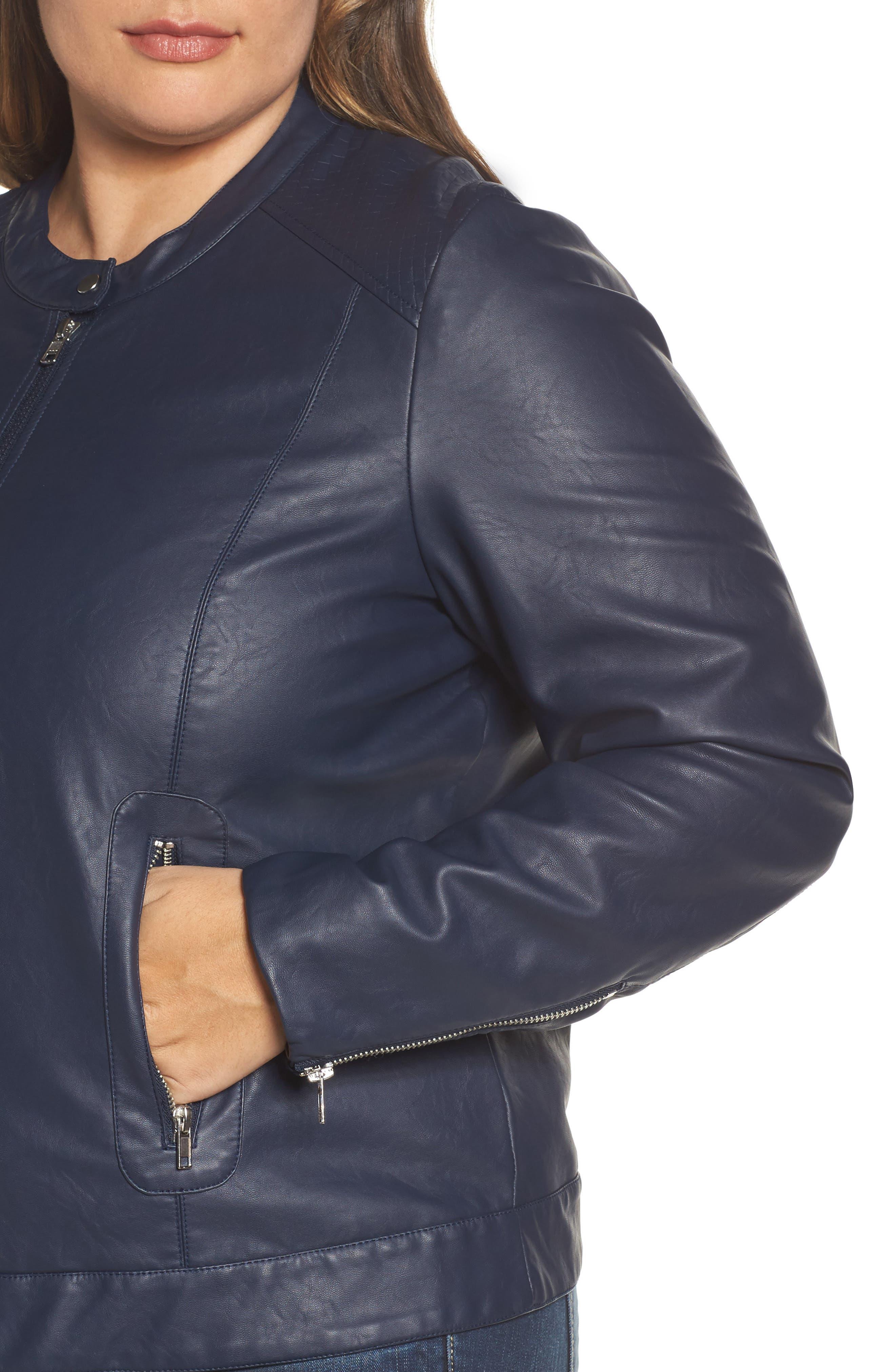 Vava Faux Leather Moto Jacket,                             Alternate thumbnail 4, color,                             411