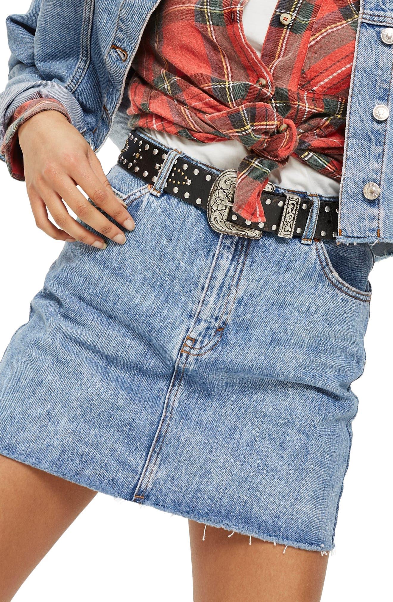 Petite Topshop Moto Denim Miniskirt