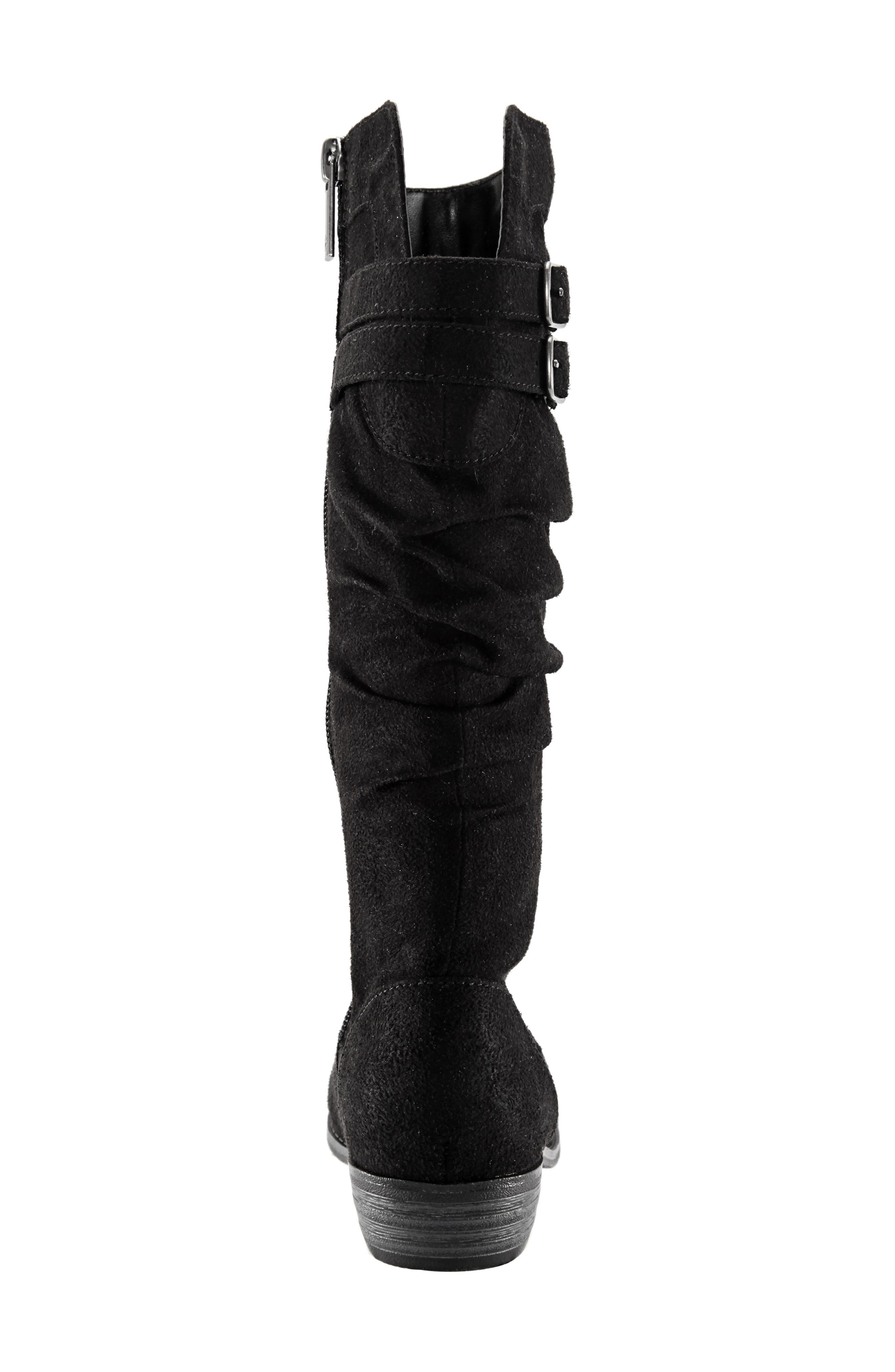 Gilda Tall Slouchy Boot,                             Alternate thumbnail 6, color,                             BLACK BURNISHED MICRO SUEDE