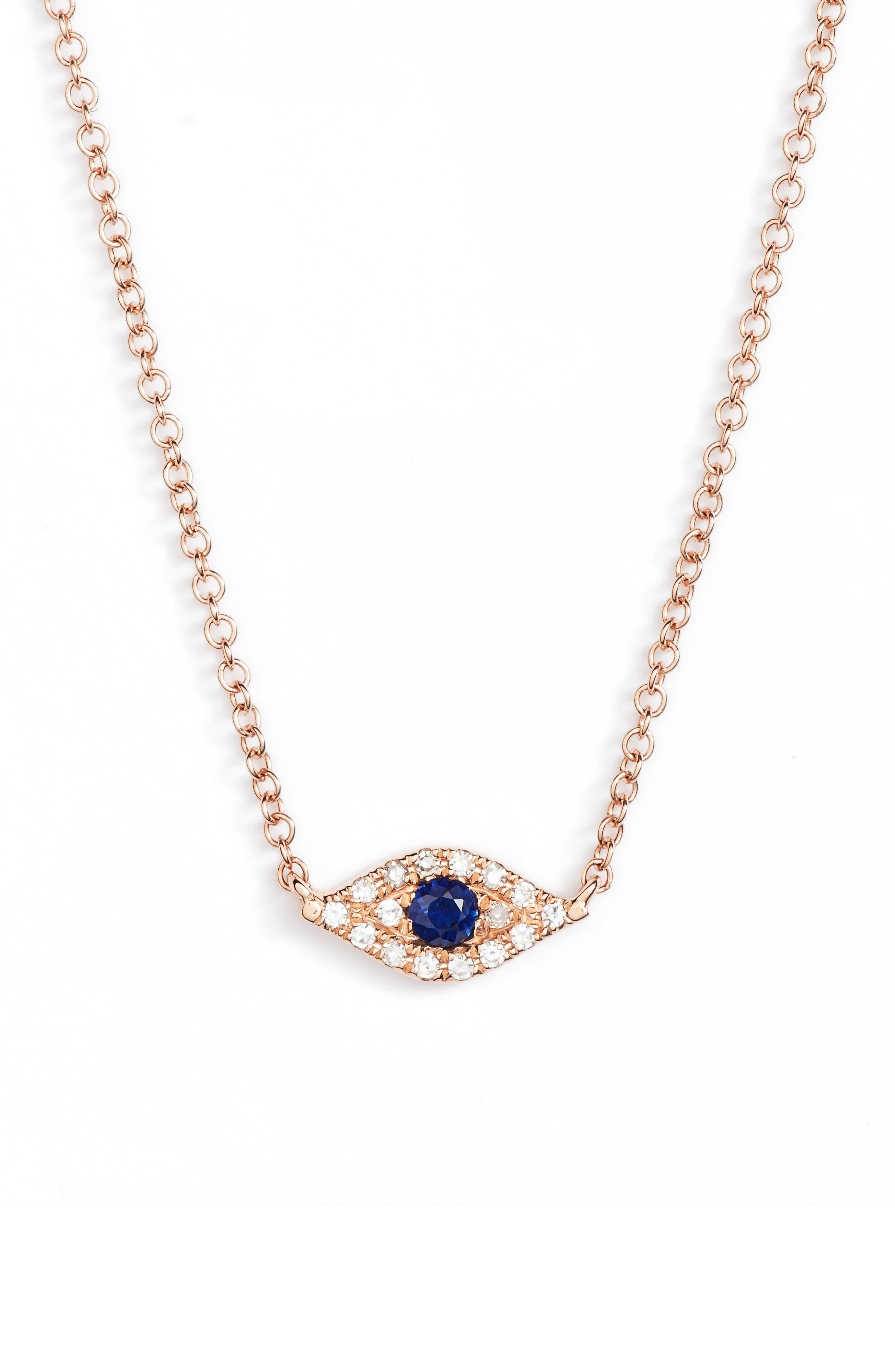 Evil Eye Diamond & Sapphire Pendant Necklace,                             Main thumbnail 1, color,                             ROSE GOLD
