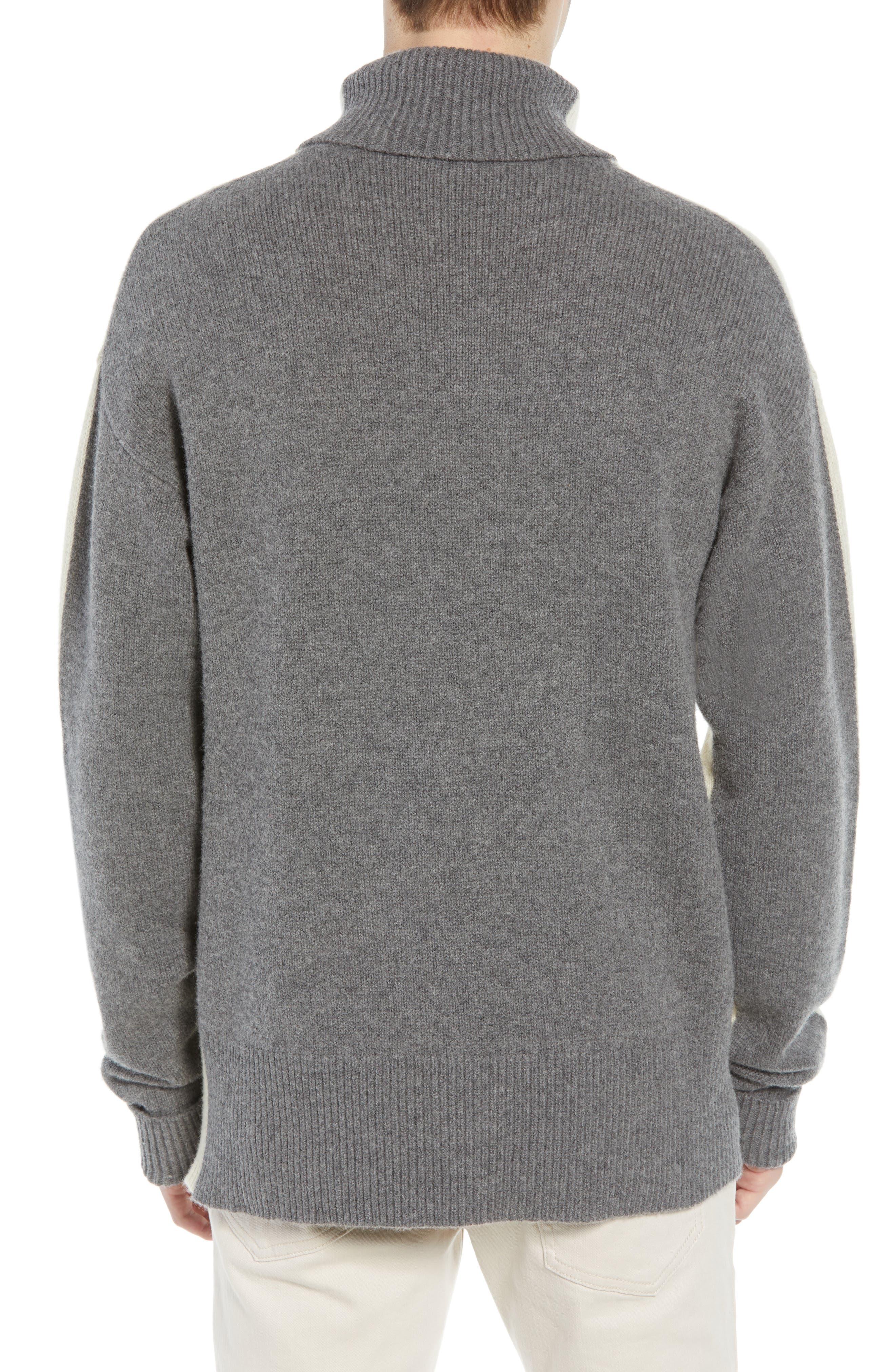 Colorblock Turtleneck Sweater,                             Alternate thumbnail 2, color,                             FOG MID GREY MELANGE