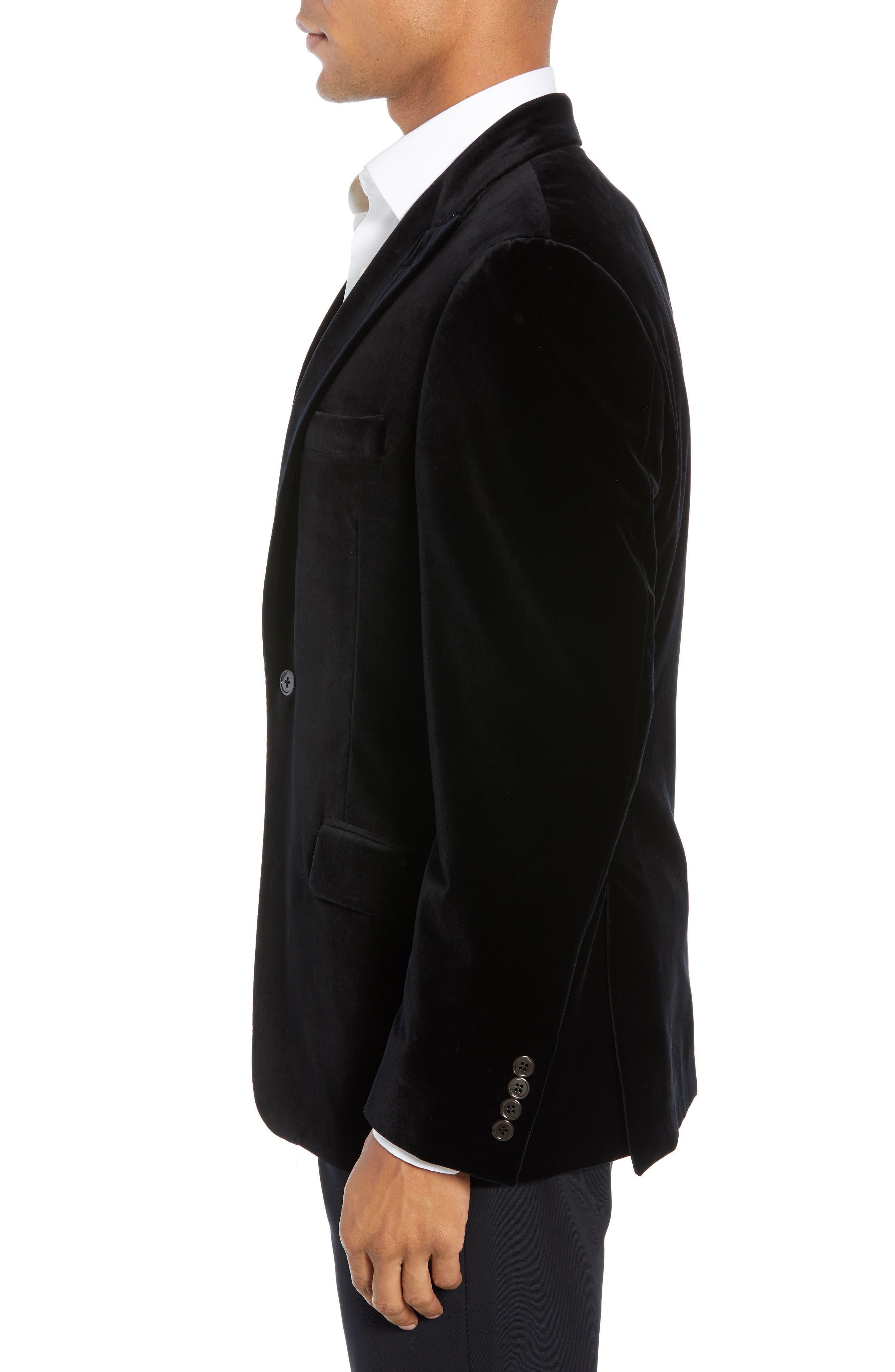 Classic Fit Stretch Cotton Velvet Dinner Jacket,                             Alternate thumbnail 3, color,                             BLACK
