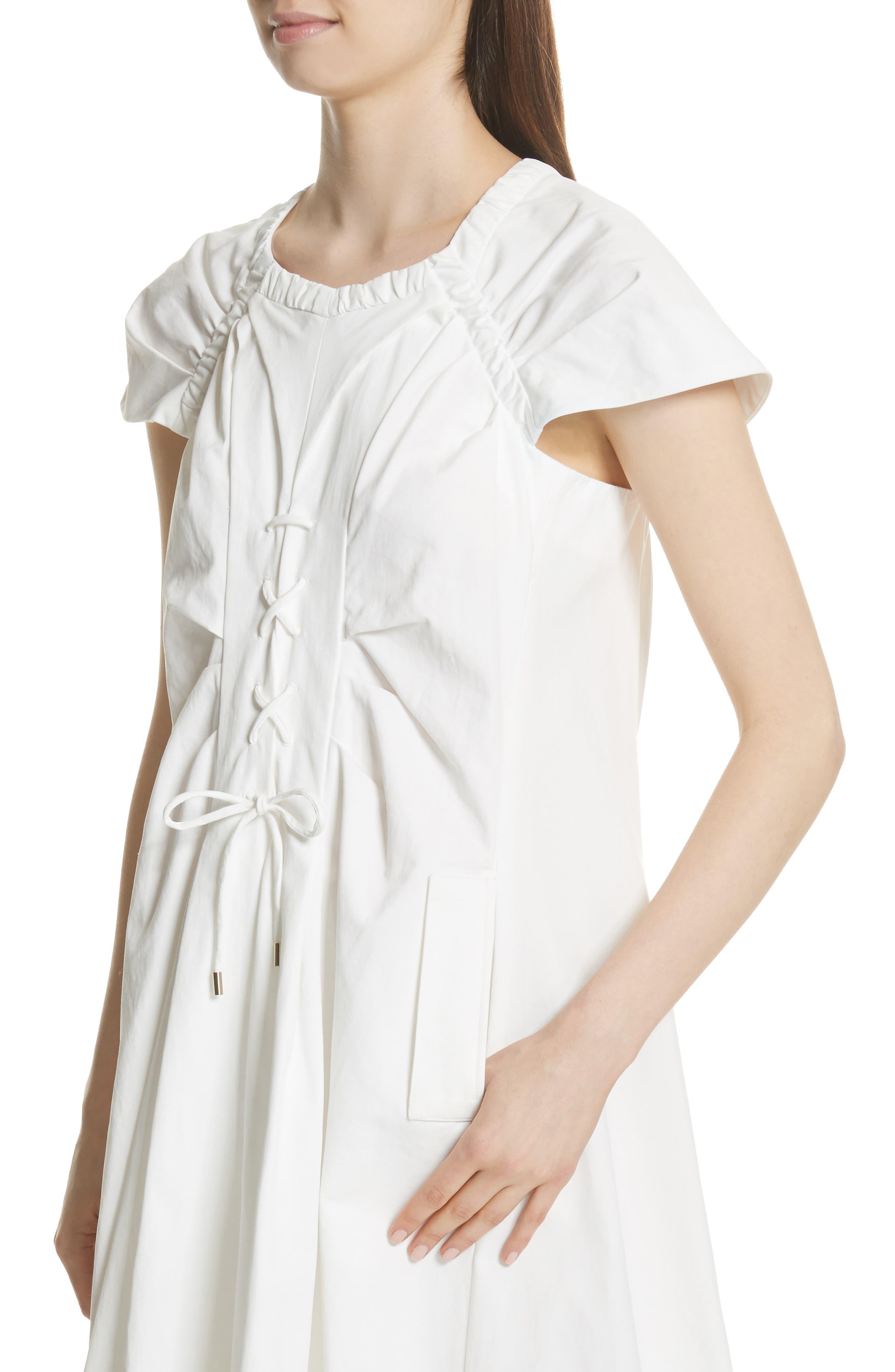 Lace Up Front Poplin Dress,                             Alternate thumbnail 4, color,                             100