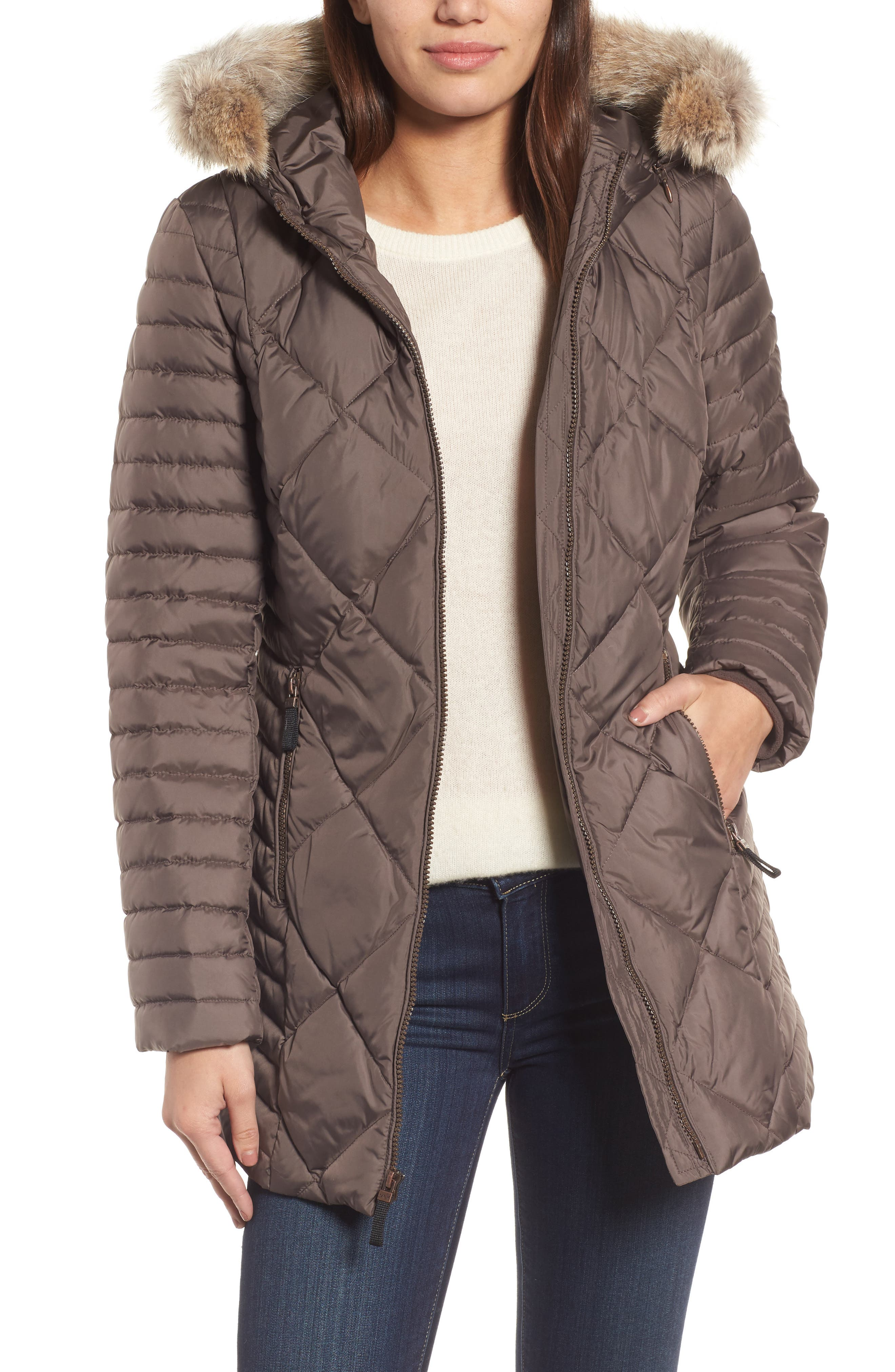 Hooded Coat with Genuine Coyote Fur Trim,                             Main thumbnail 1, color,                             072