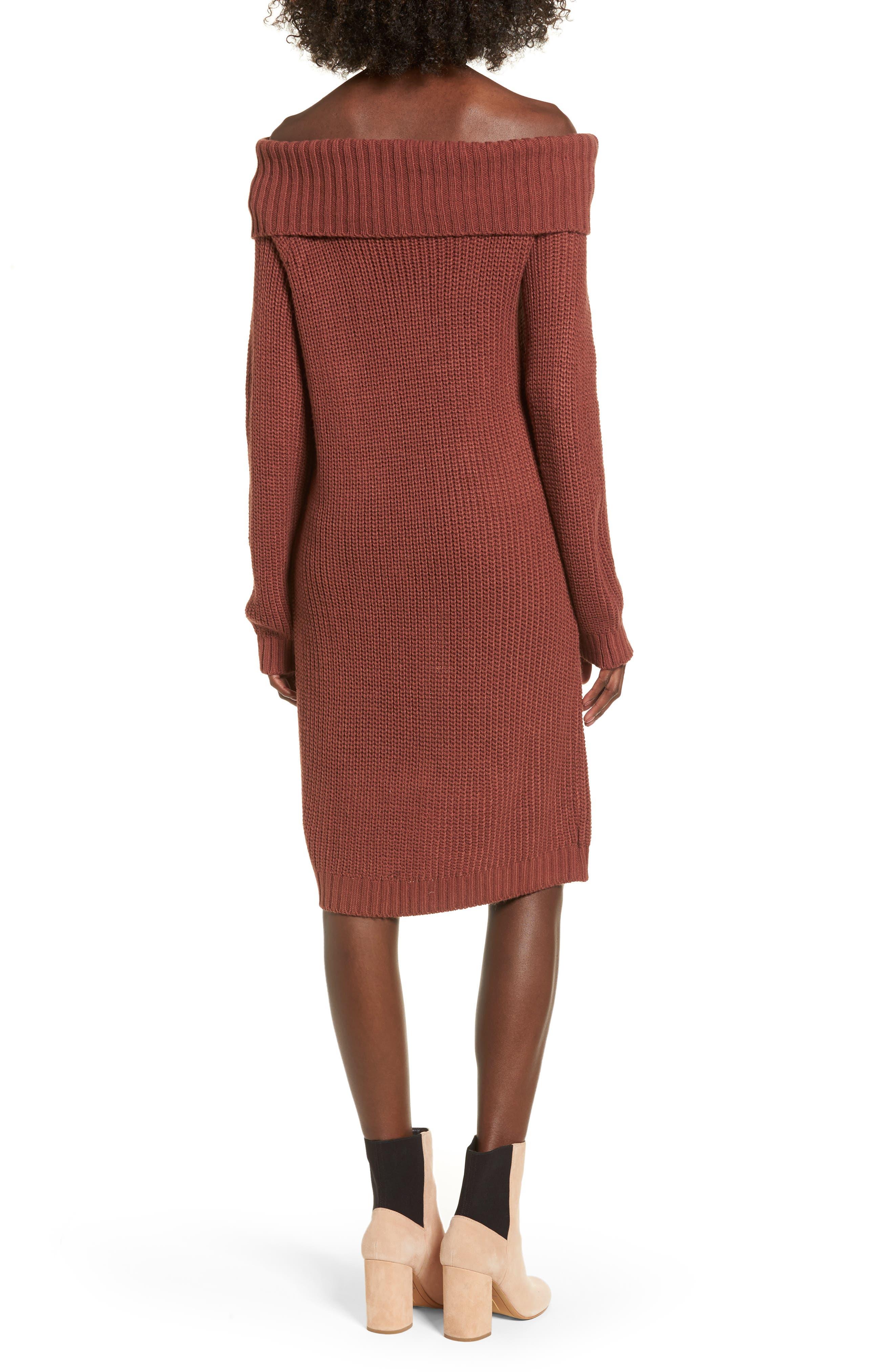 Foldover Off the Shoulder Sweater Dress,                             Alternate thumbnail 7, color,