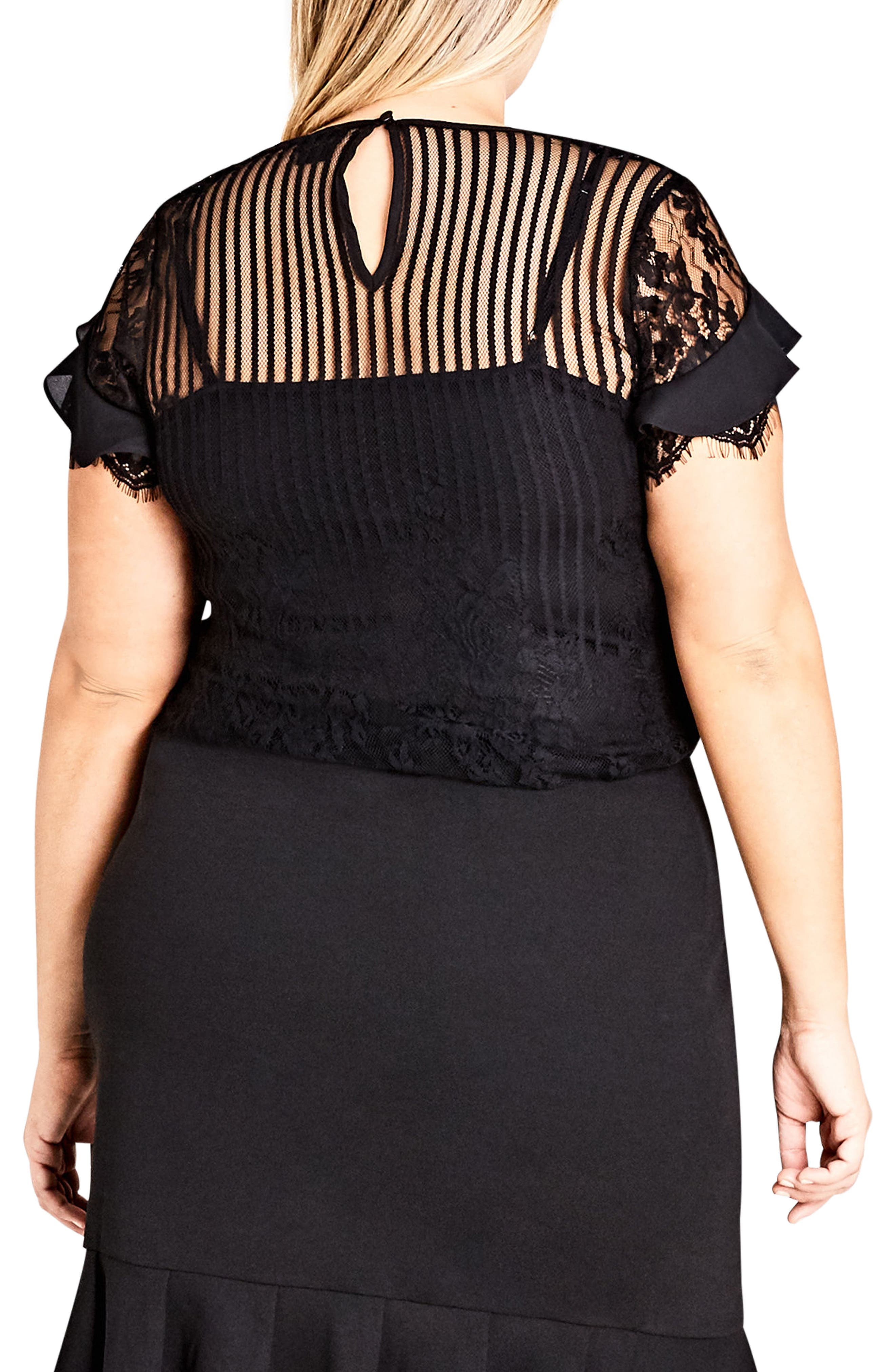 Ruffle Stripe Lace Top,                             Alternate thumbnail 2, color,                             BLACK