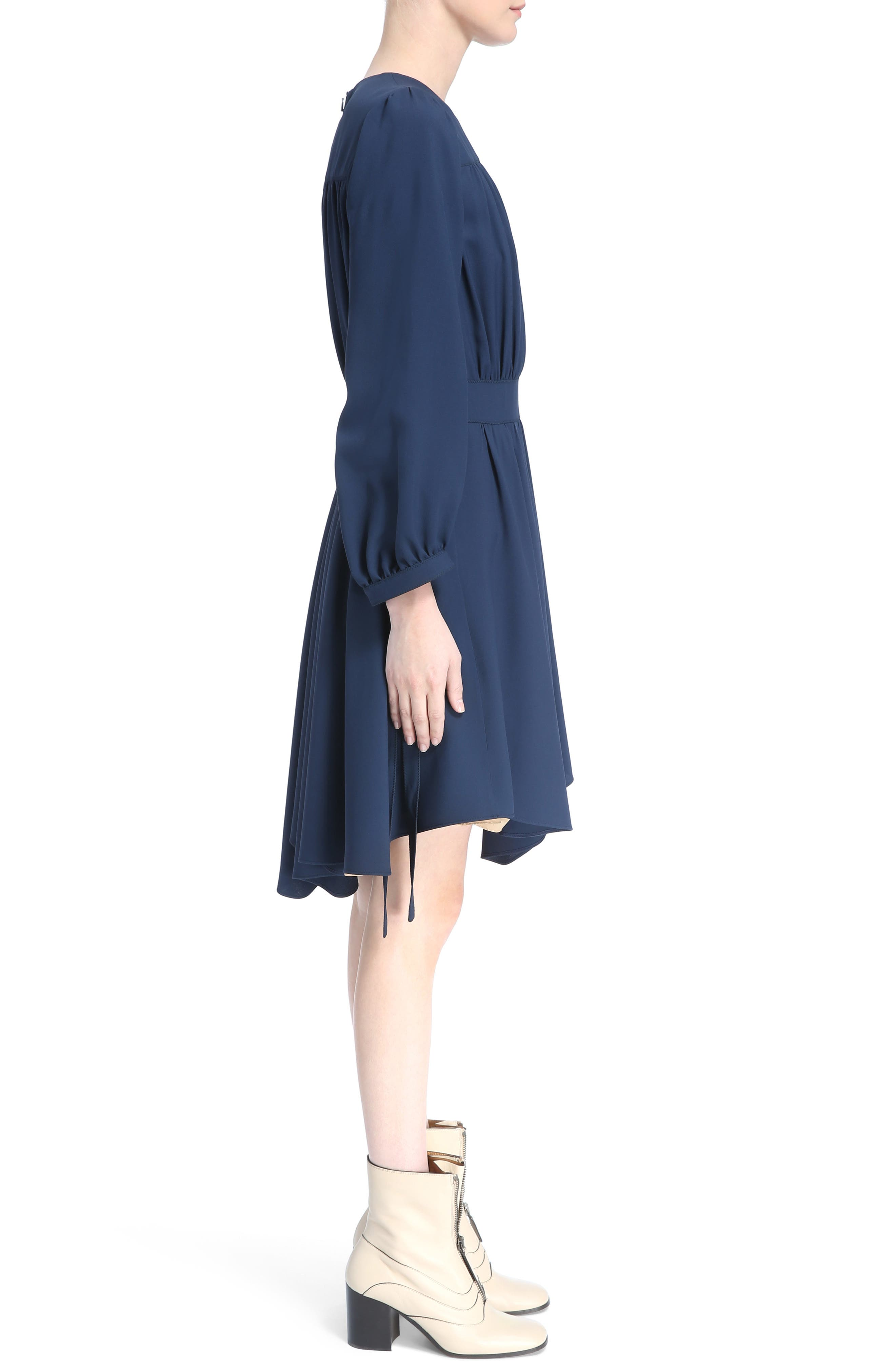 Pleated Tie Cuff Cady Dress,                             Alternate thumbnail 3, color,                             401