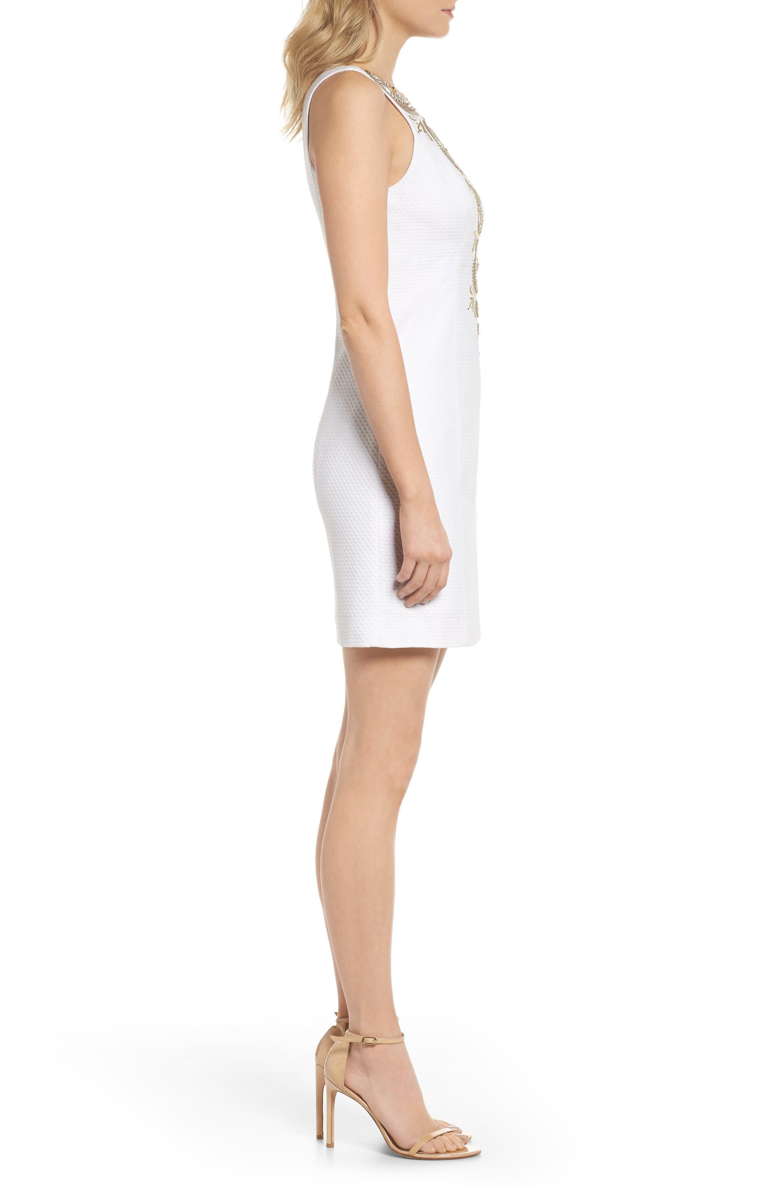 Gabby Metallic Sheath Dress,                             Alternate thumbnail 3, color,                             115