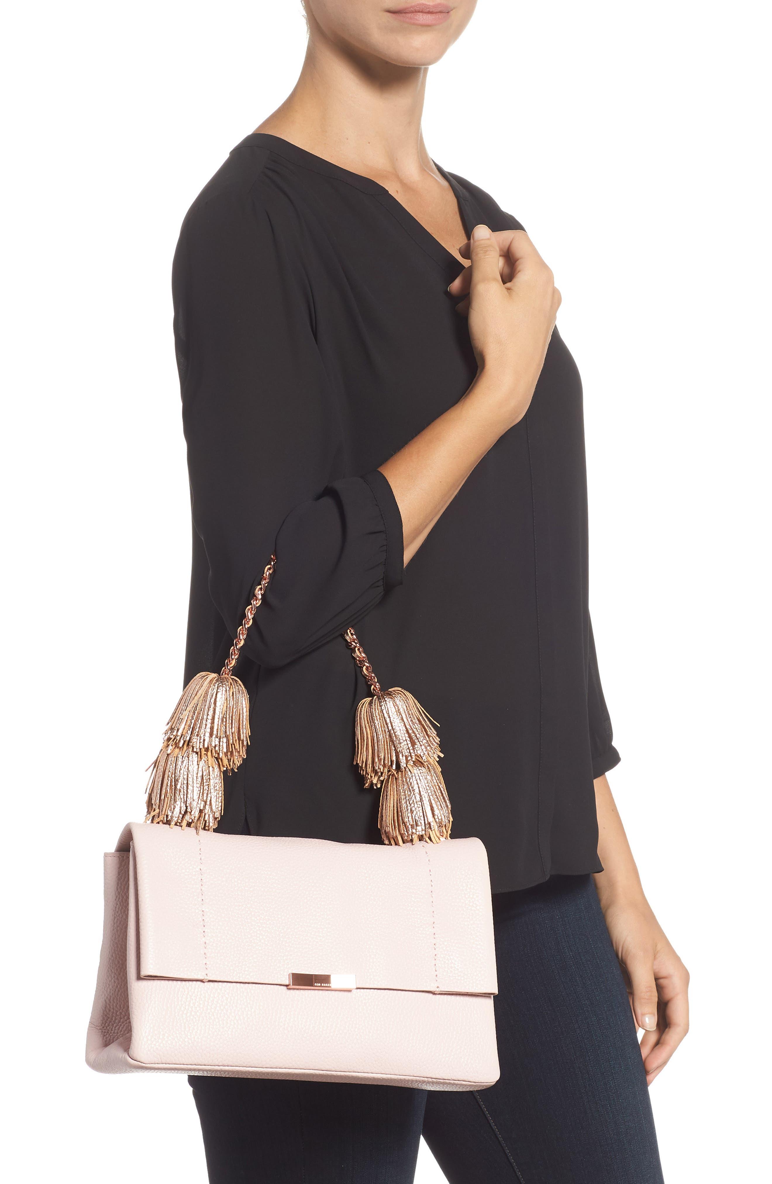 Melody Pom Leather Shoulder Bag,                             Alternate thumbnail 2, color,                             PALE PINK