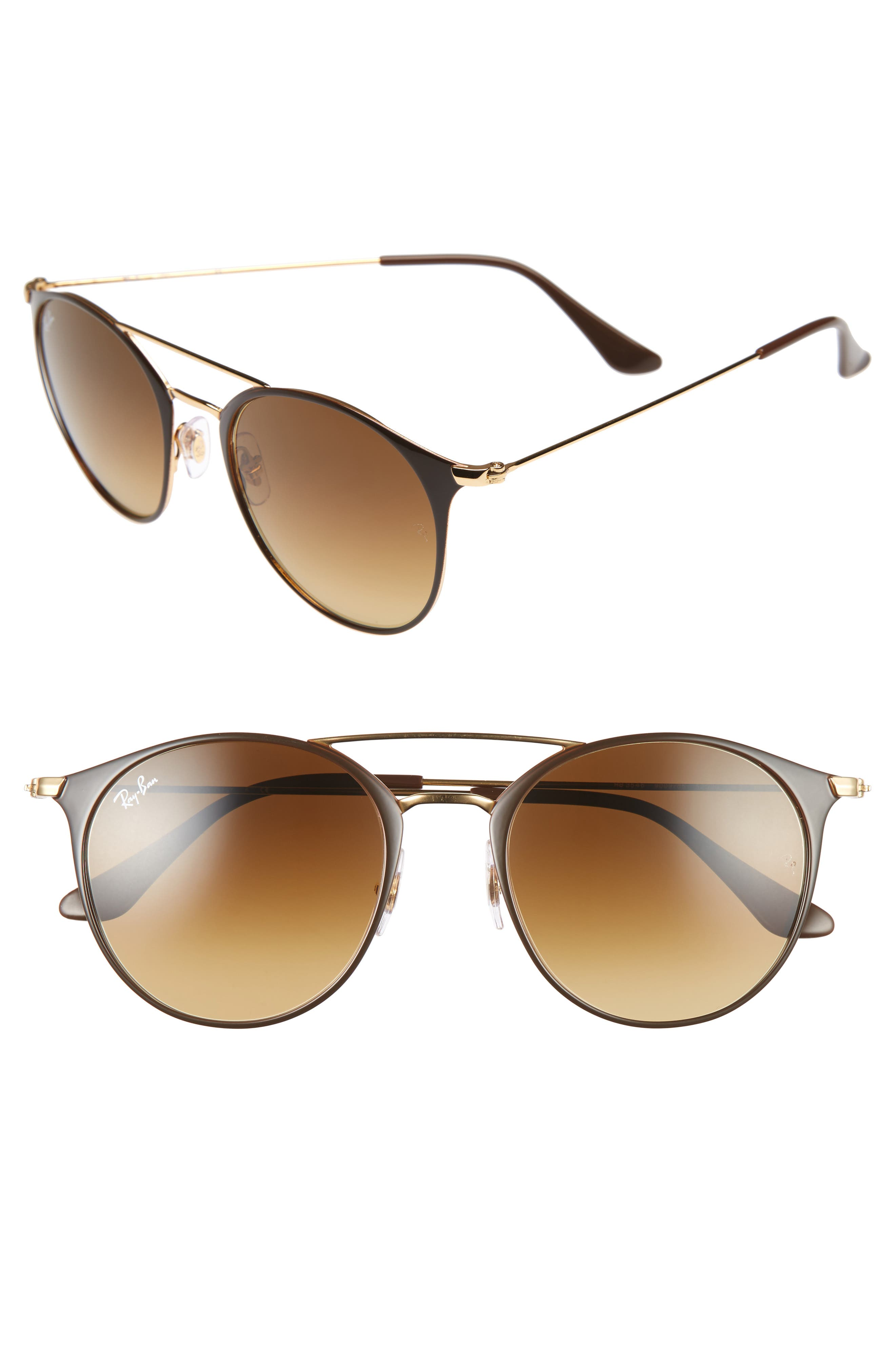 Highstreet 52mm Round Brow Bar Sunglasses,                         Main,                         color, BROWN/ GOLD