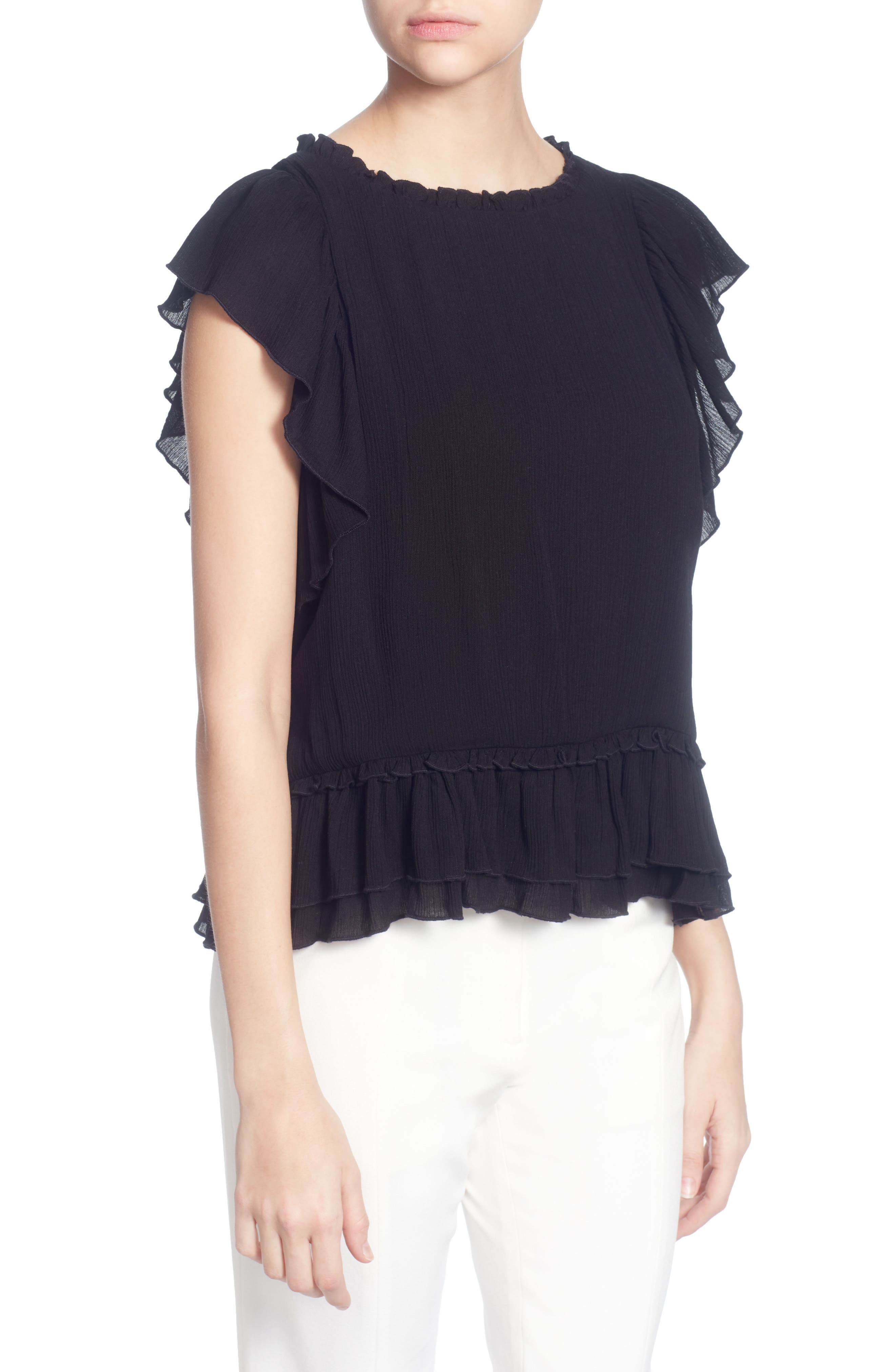 Hollis Ruffled Top,                             Main thumbnail 1, color,                             001