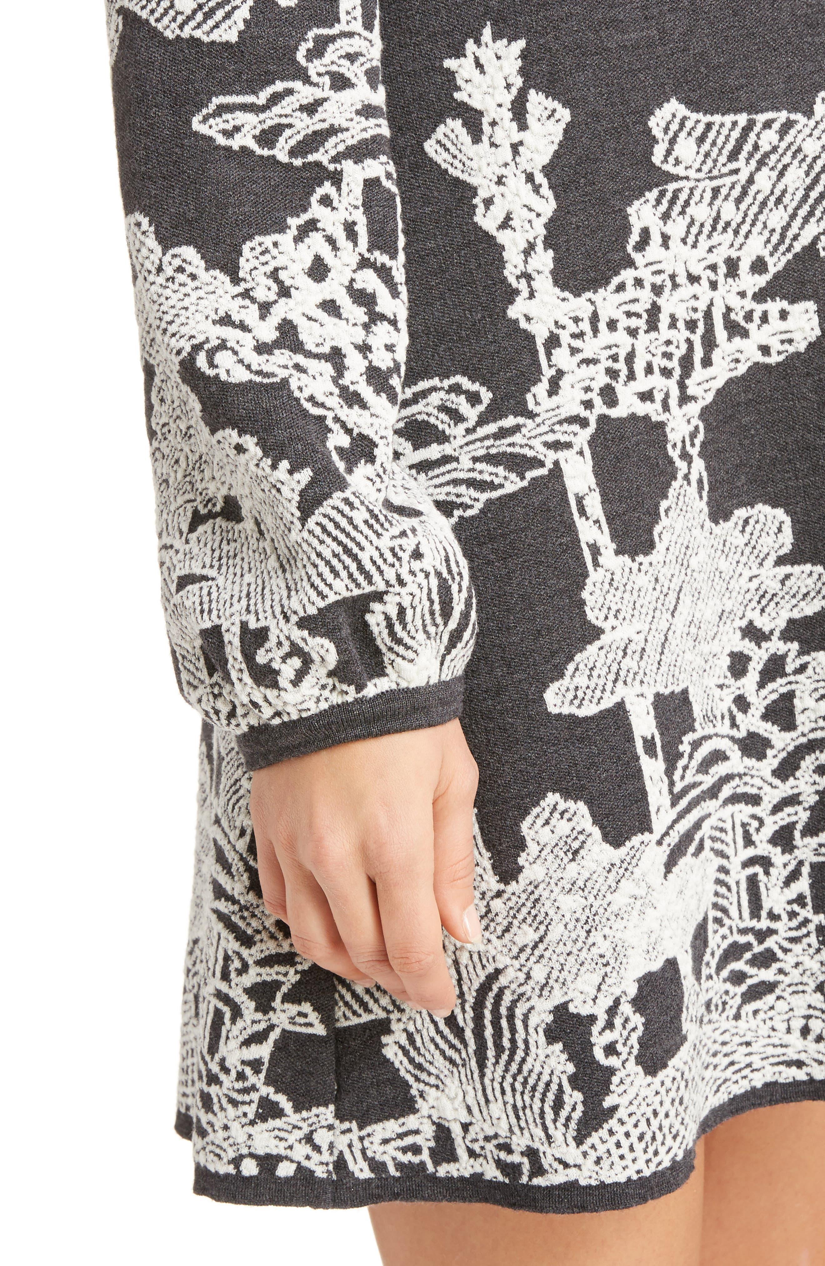 Merino Wool Dreamscape Jacquard Dress,                             Alternate thumbnail 4, color,                             020