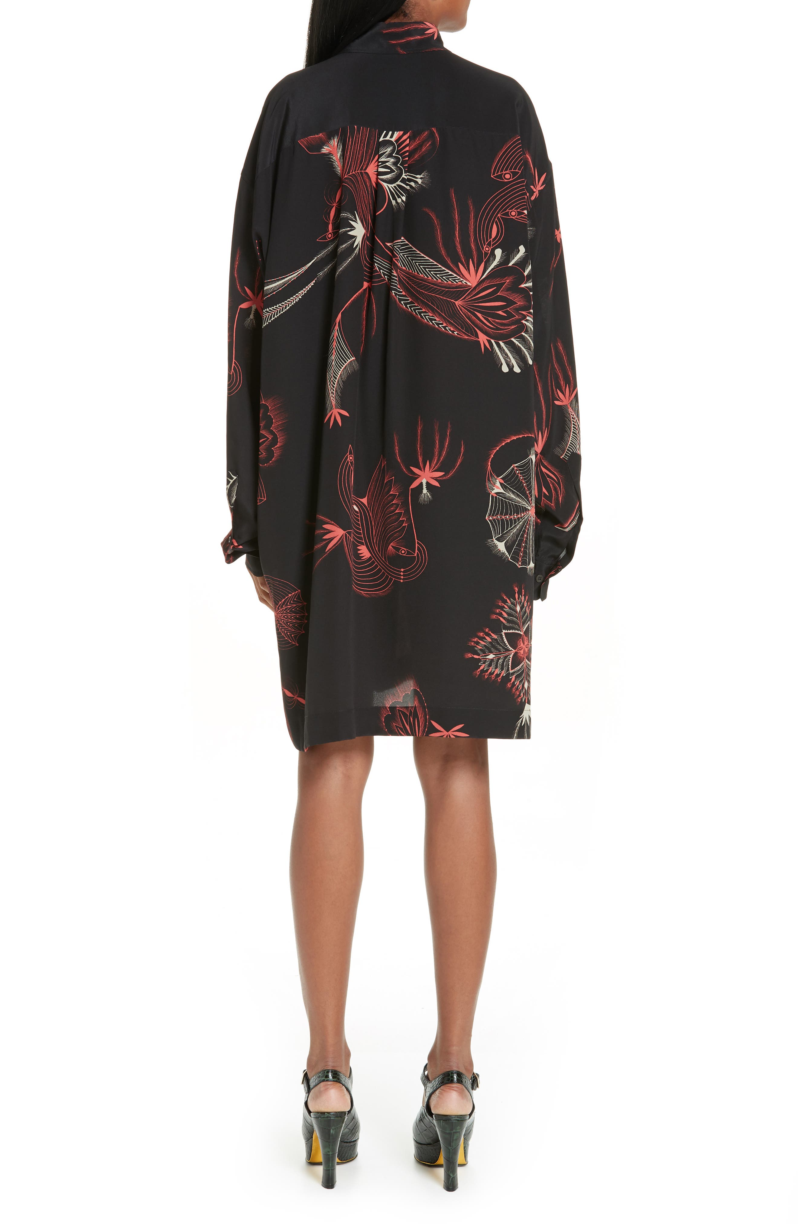 Coral Print Silk Shirtdress,                             Alternate thumbnail 2, color,                             BLACK