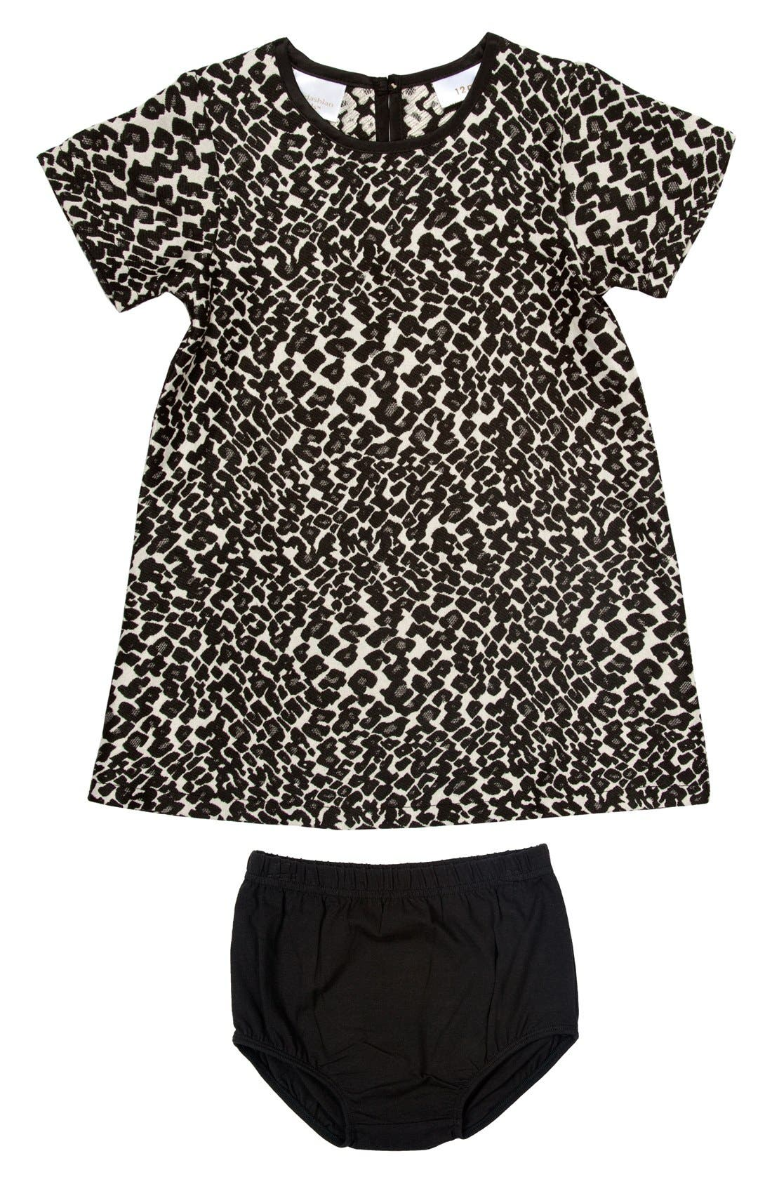 Leopard Print Shift Dress & Bloomers, Main, color, 250