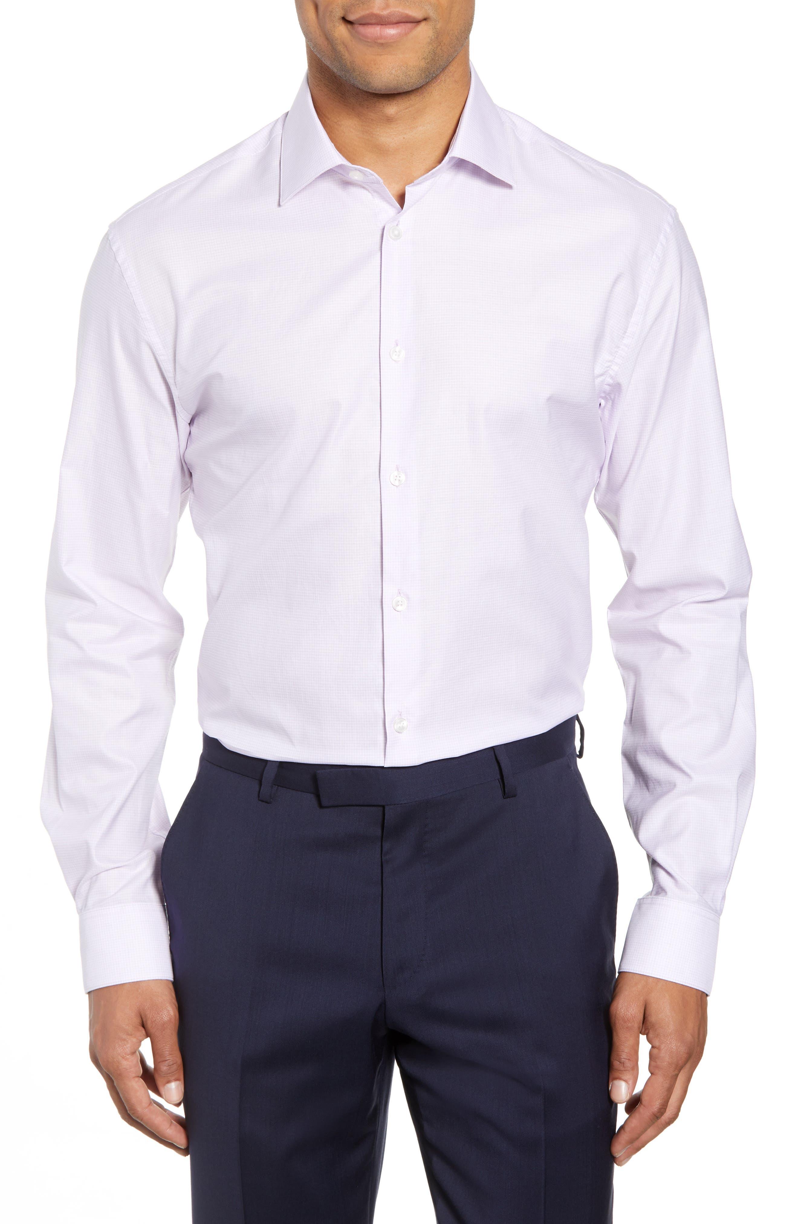 Slim Fit Check Dress Shirt,                         Main,                         color, LAVENDER