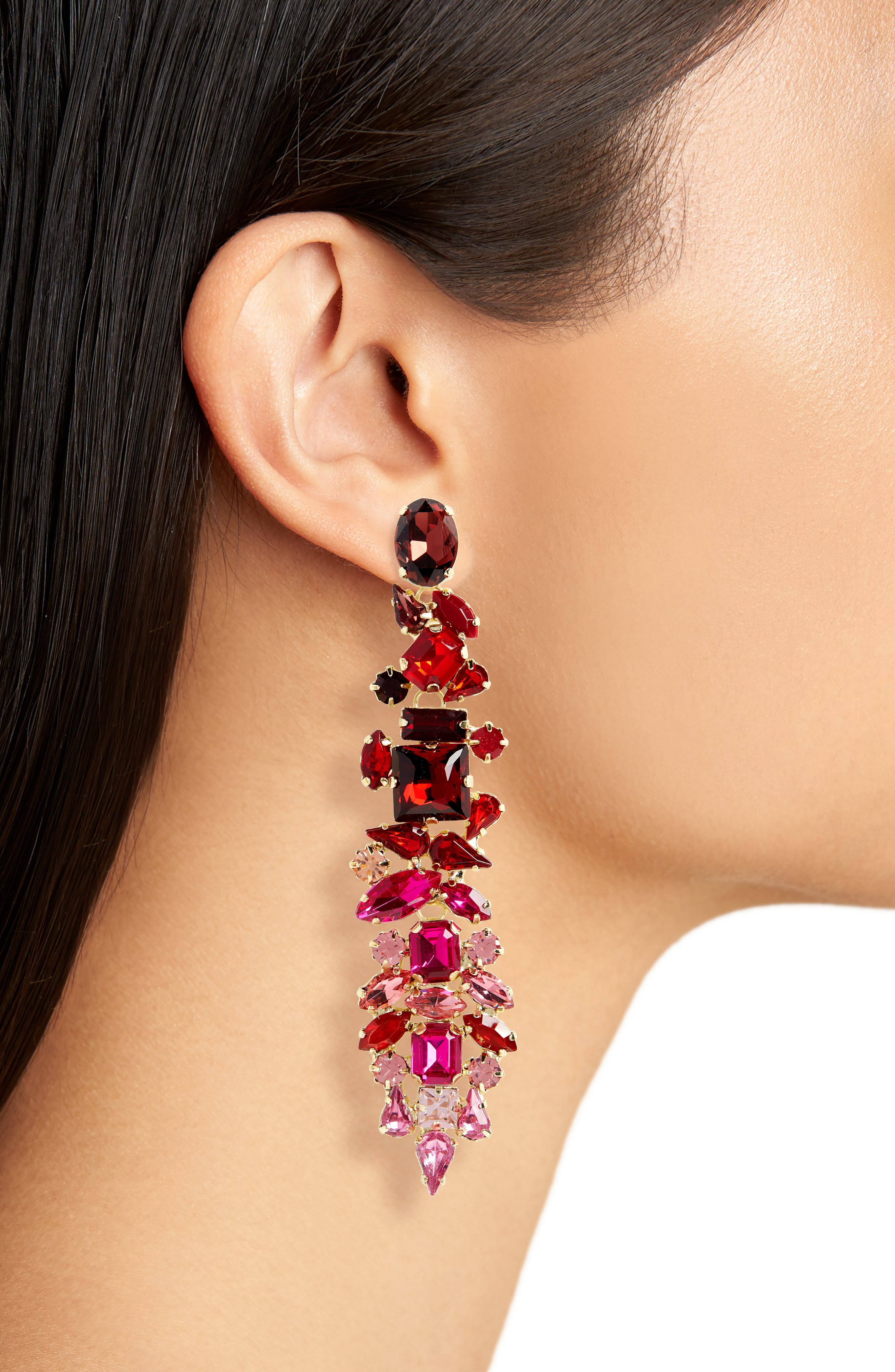 Dynasty Statement Earrings,                             Alternate thumbnail 2, color,                             GOLD/ FUSCHIA