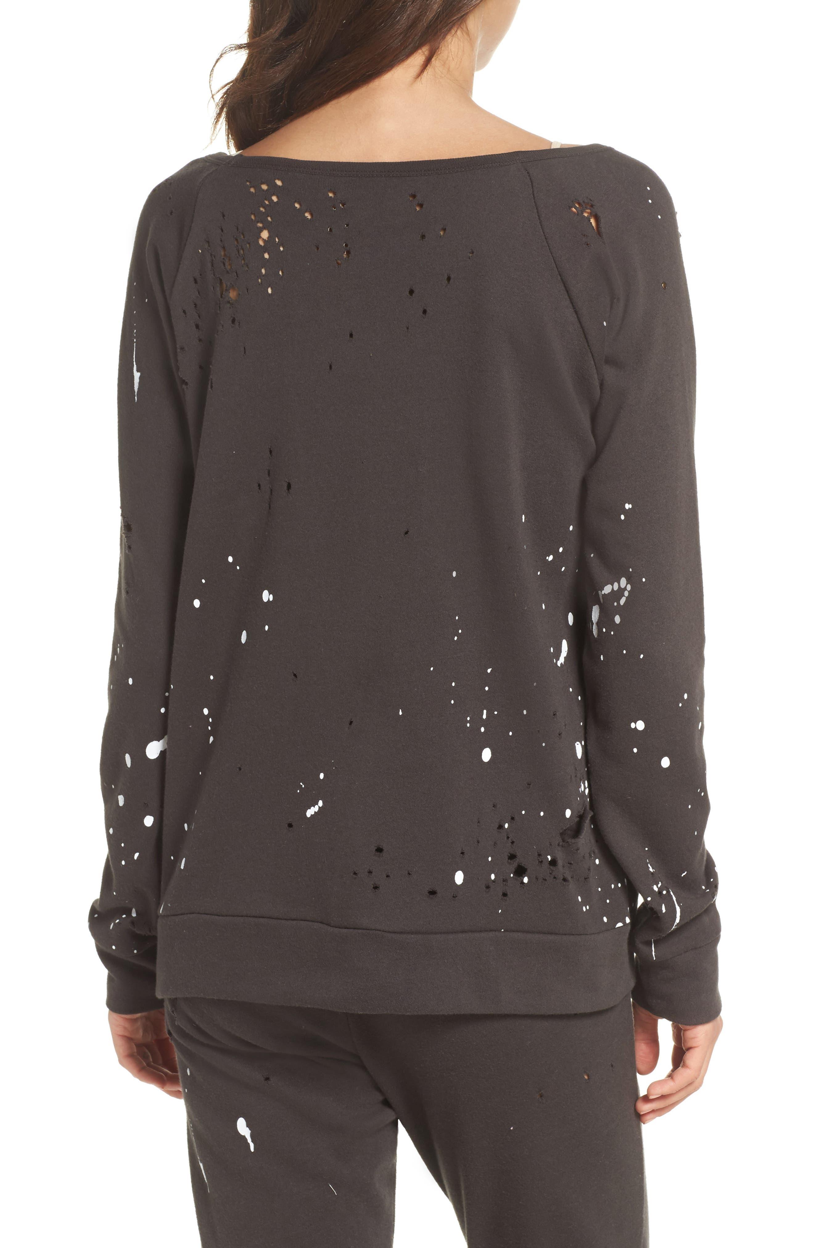 Distressed Fleece Sweatshirt,                             Alternate thumbnail 2, color,                             007