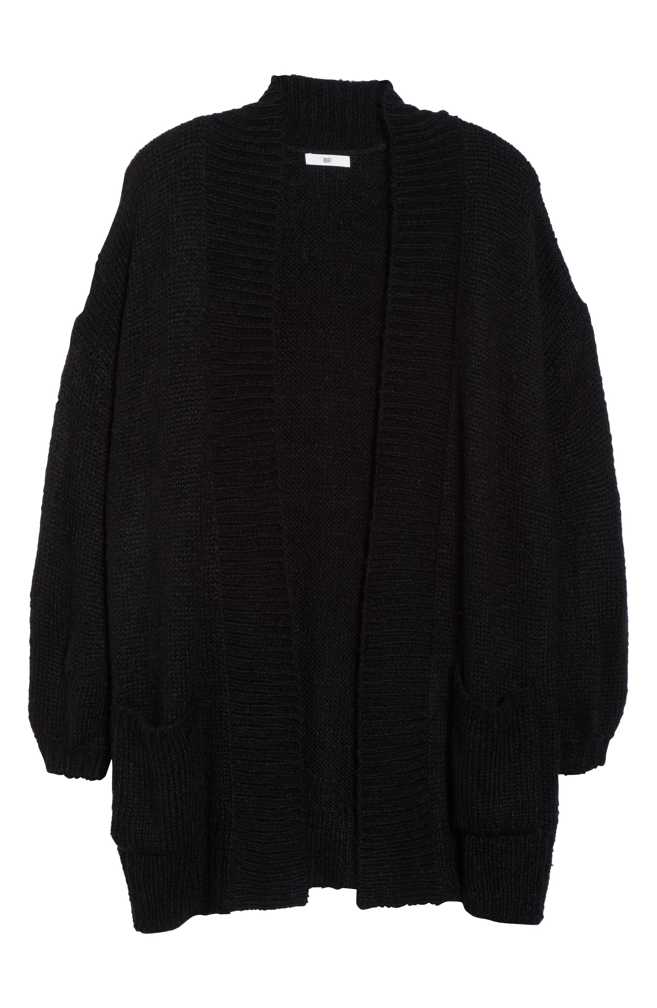 Cozy Shawl Collar Cardigan,                             Alternate thumbnail 6, color,                             BLACK