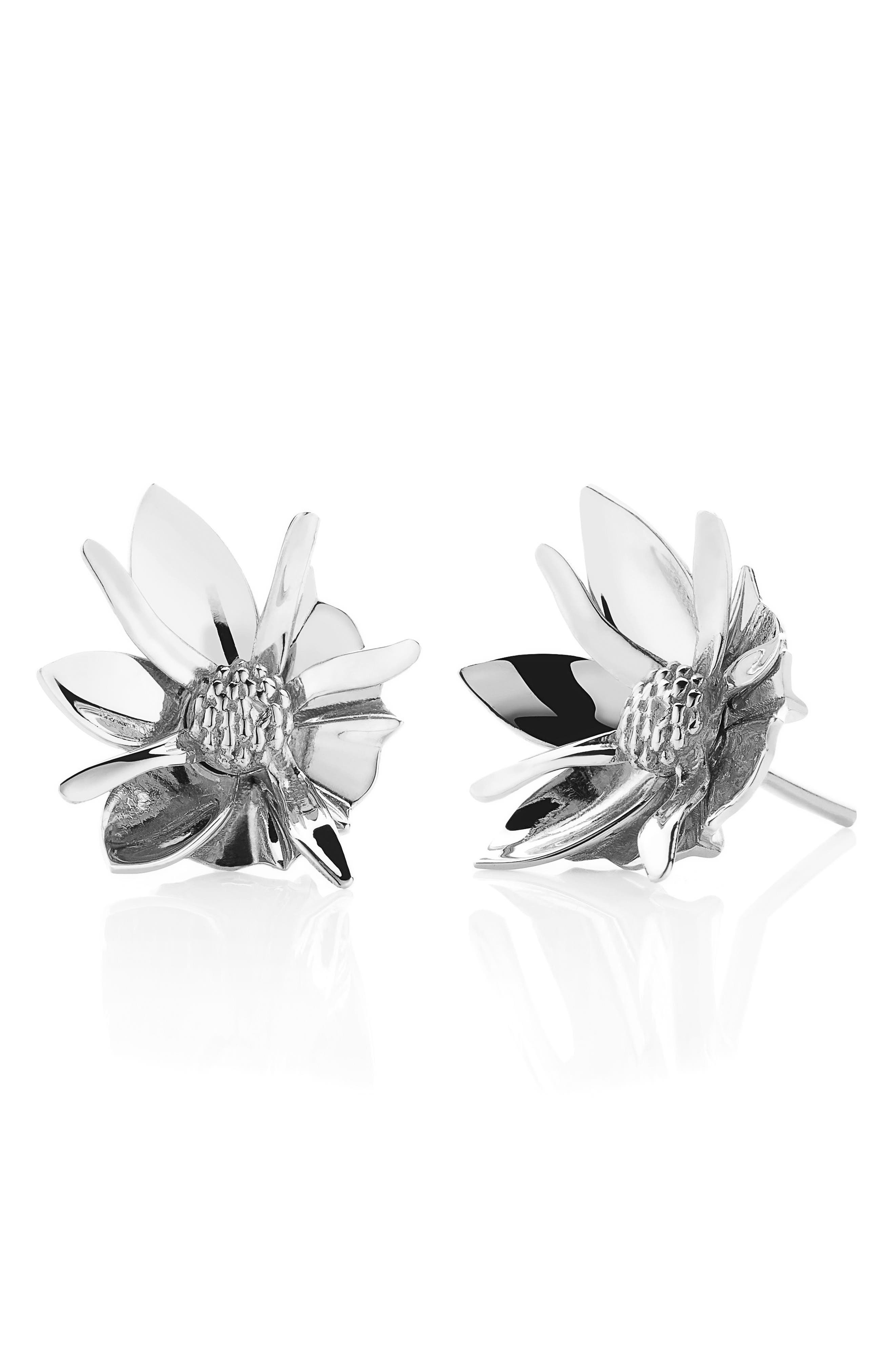 Small Wildflower Stud Earrings,                         Main,                         color, SILVER
