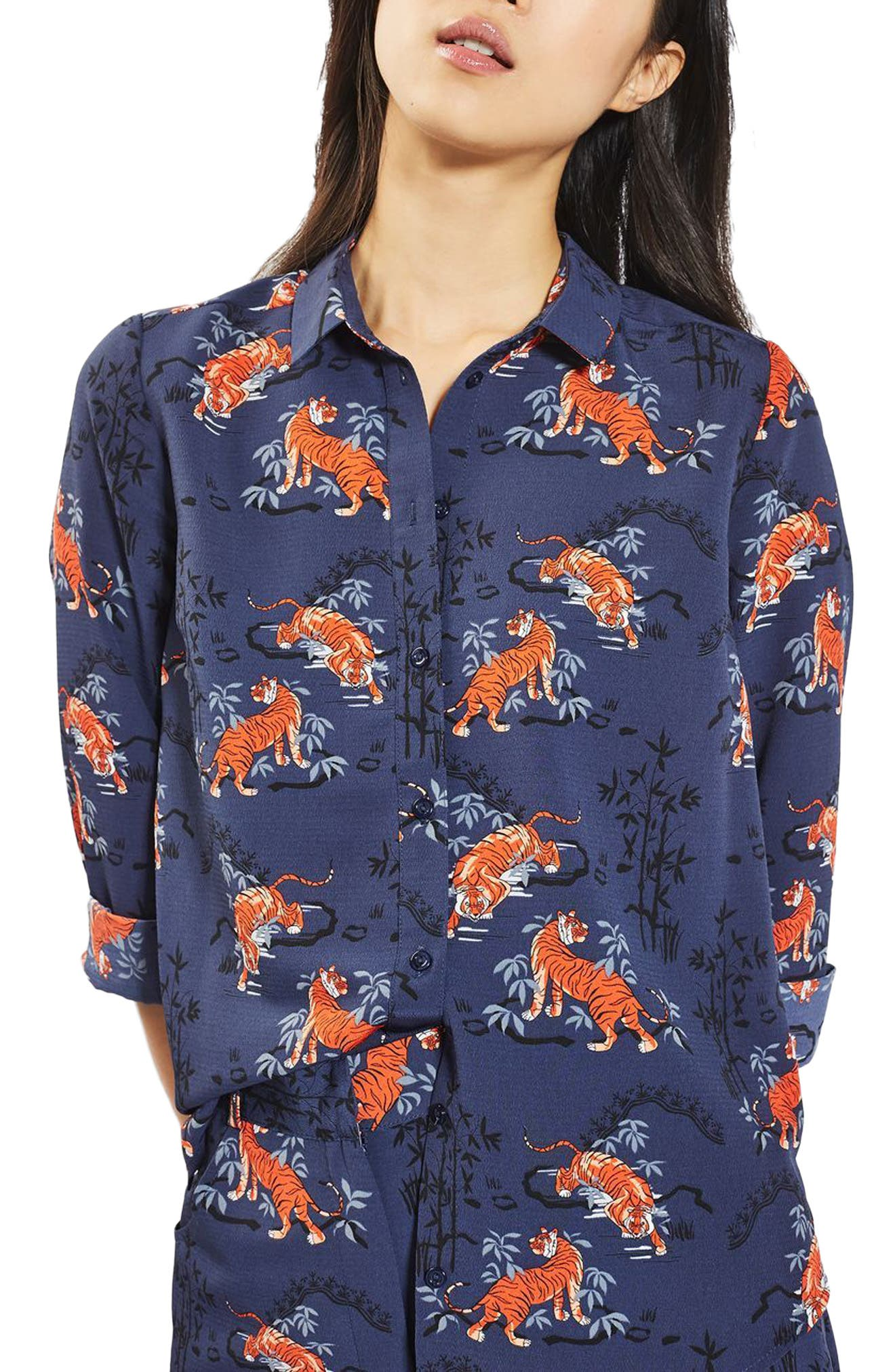 Tiger Print Shirt, Main, color, 400