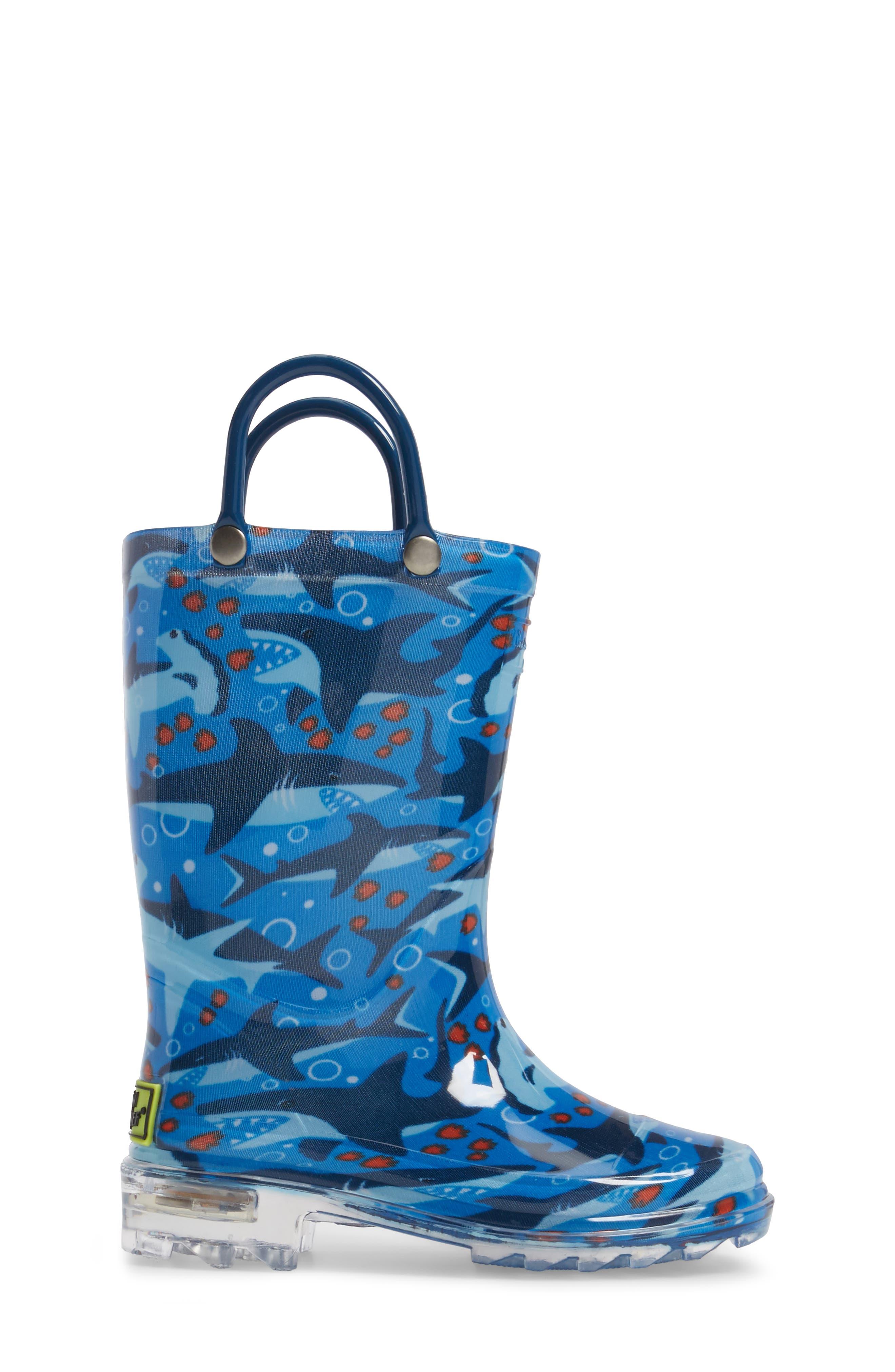 Shark Chase Light-Up Rain Boot,                             Alternate thumbnail 3, color,                             420