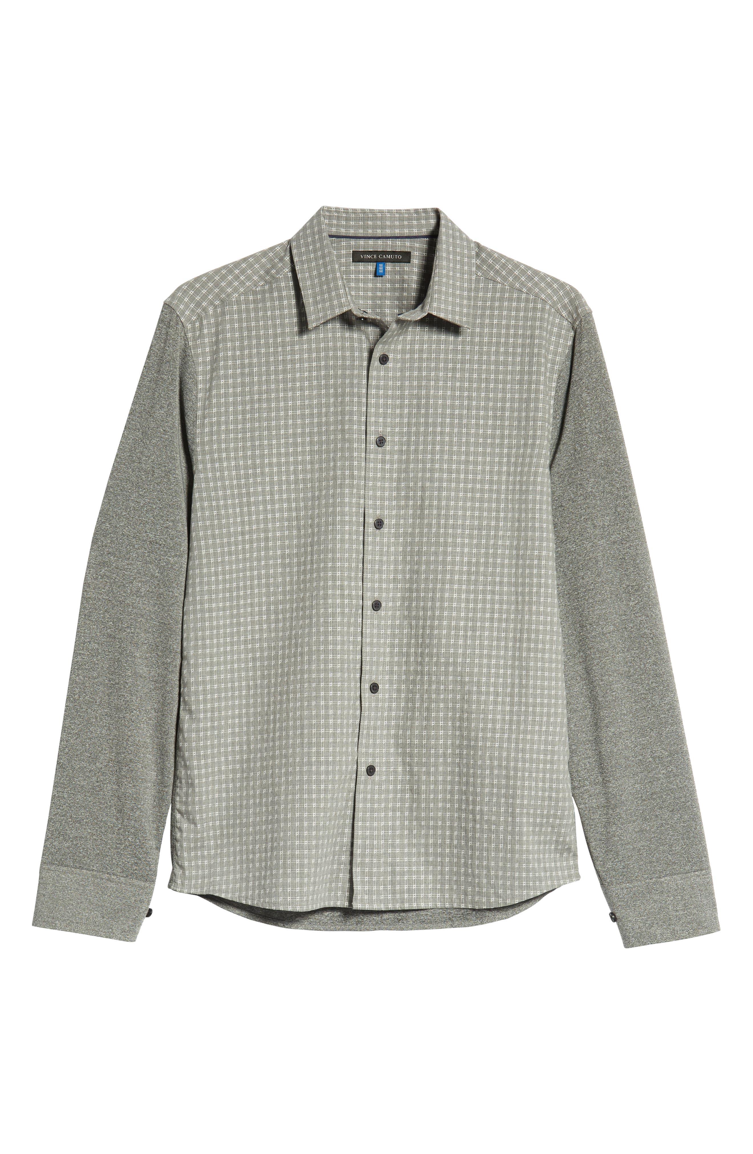 VINCE CAMUTO,                             Slim Fit Mixed Media Sport Shirt,                             Alternate thumbnail 5, color,                             034