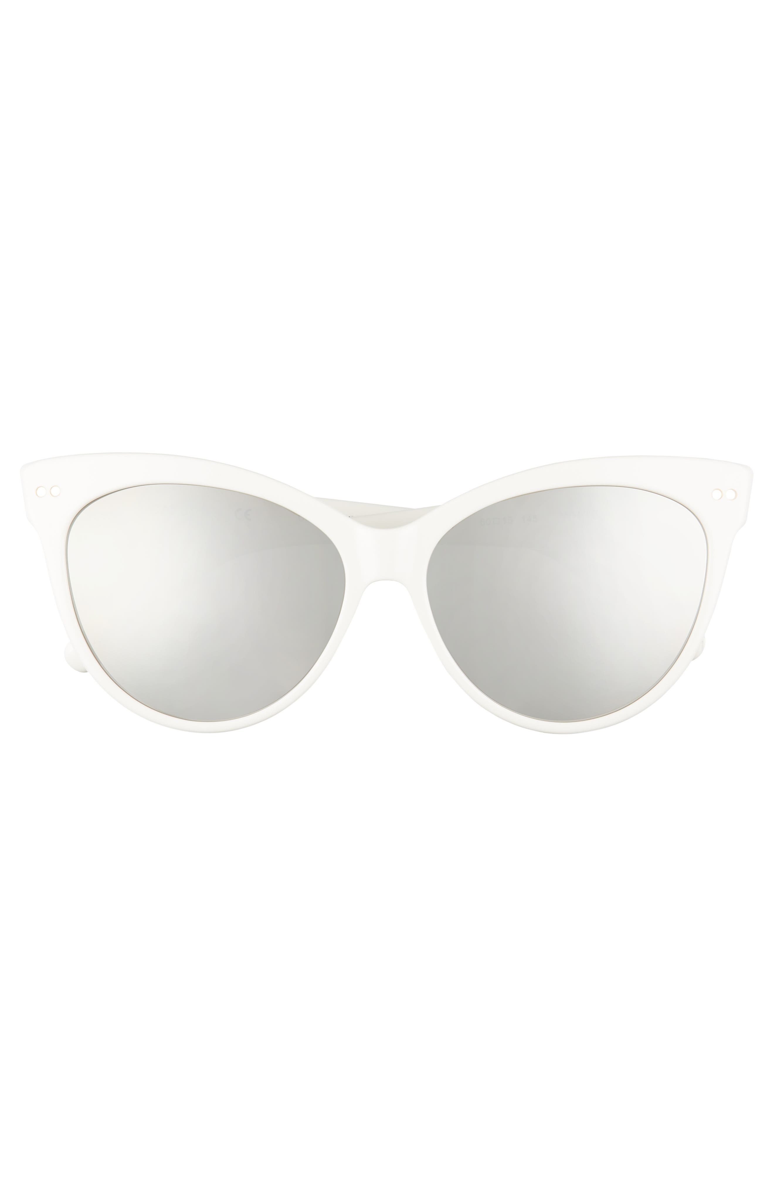 Audrey 60mm Cat Eye Sunglasses,                             Alternate thumbnail 3, color,                             WHITE