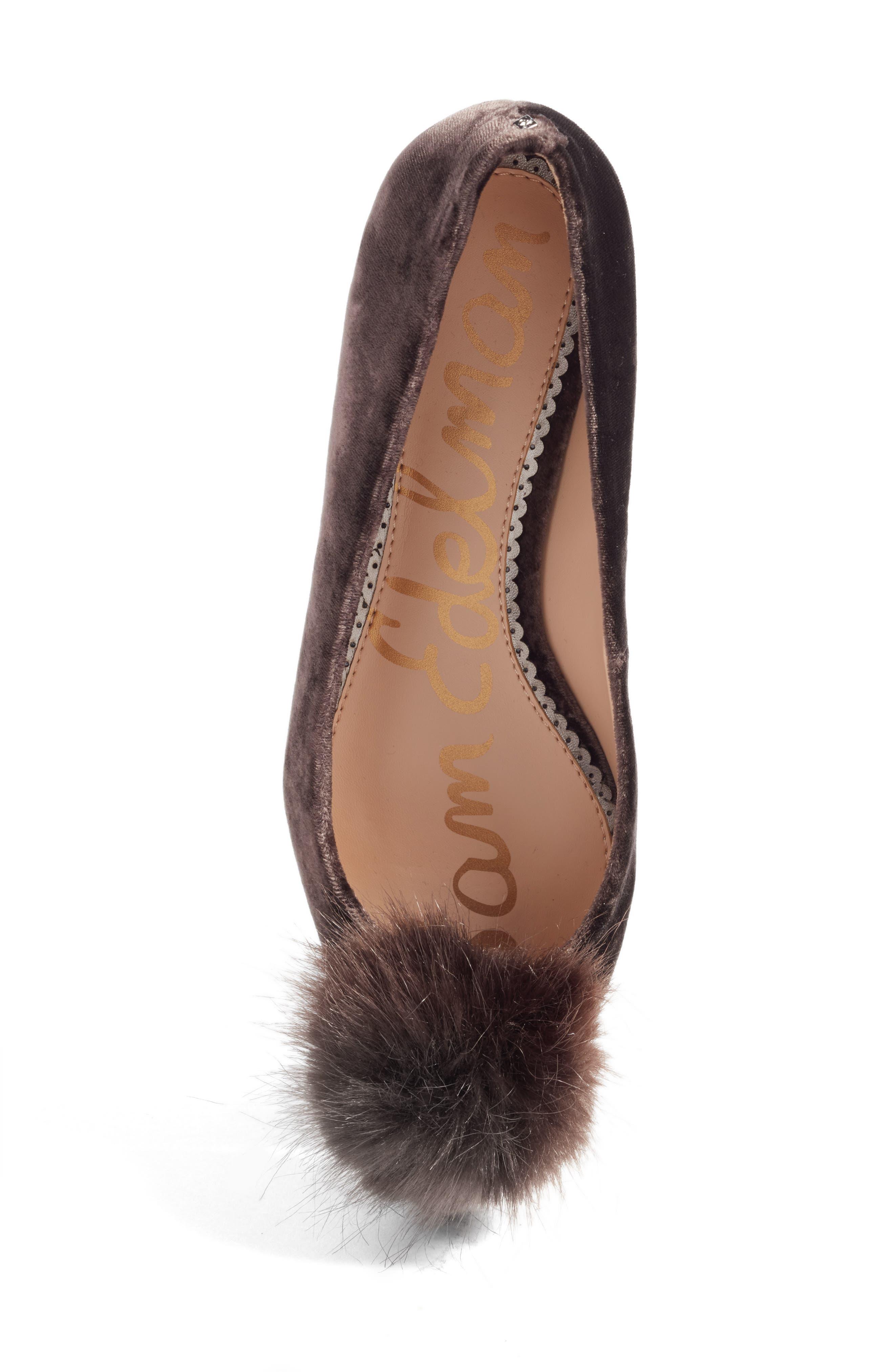 Raddie Faux Fur Pompom Flat,                             Alternate thumbnail 5, color,                             020
