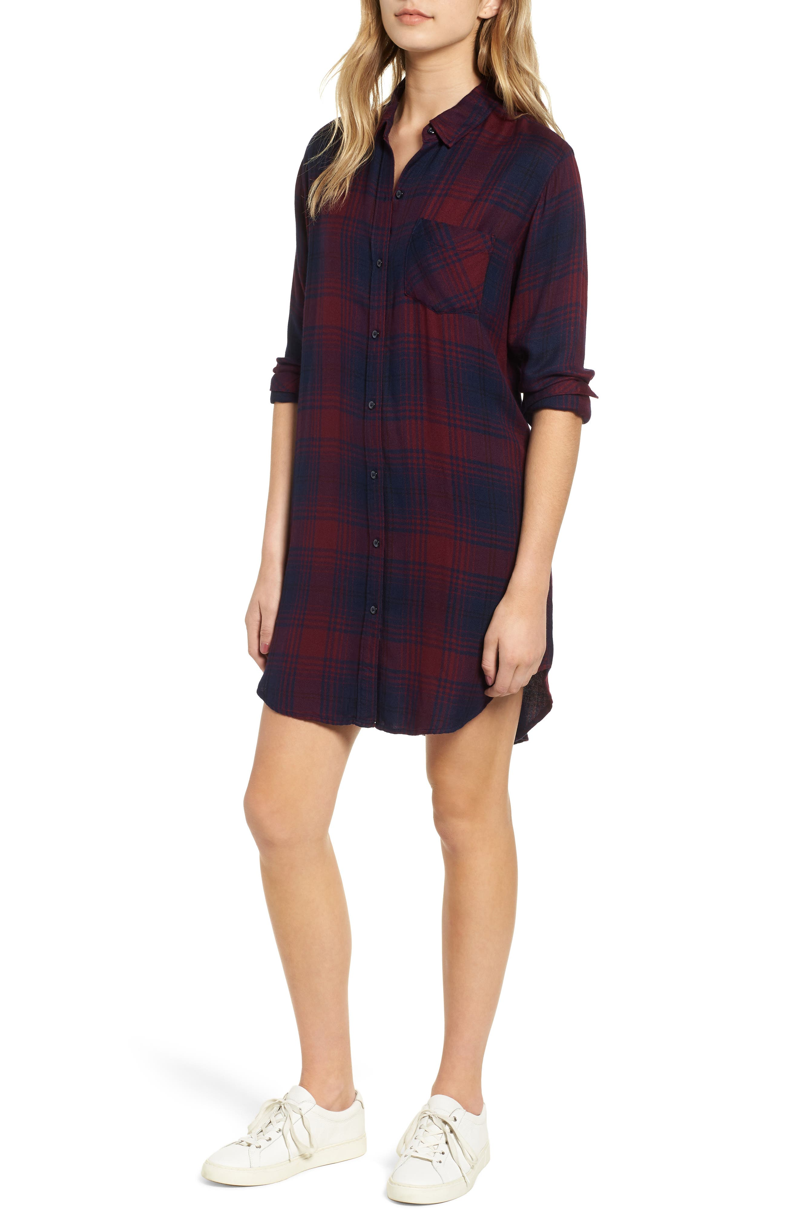 Bianca Flannel Shirtdress,                         Main,                         color, CURRANT NAVY