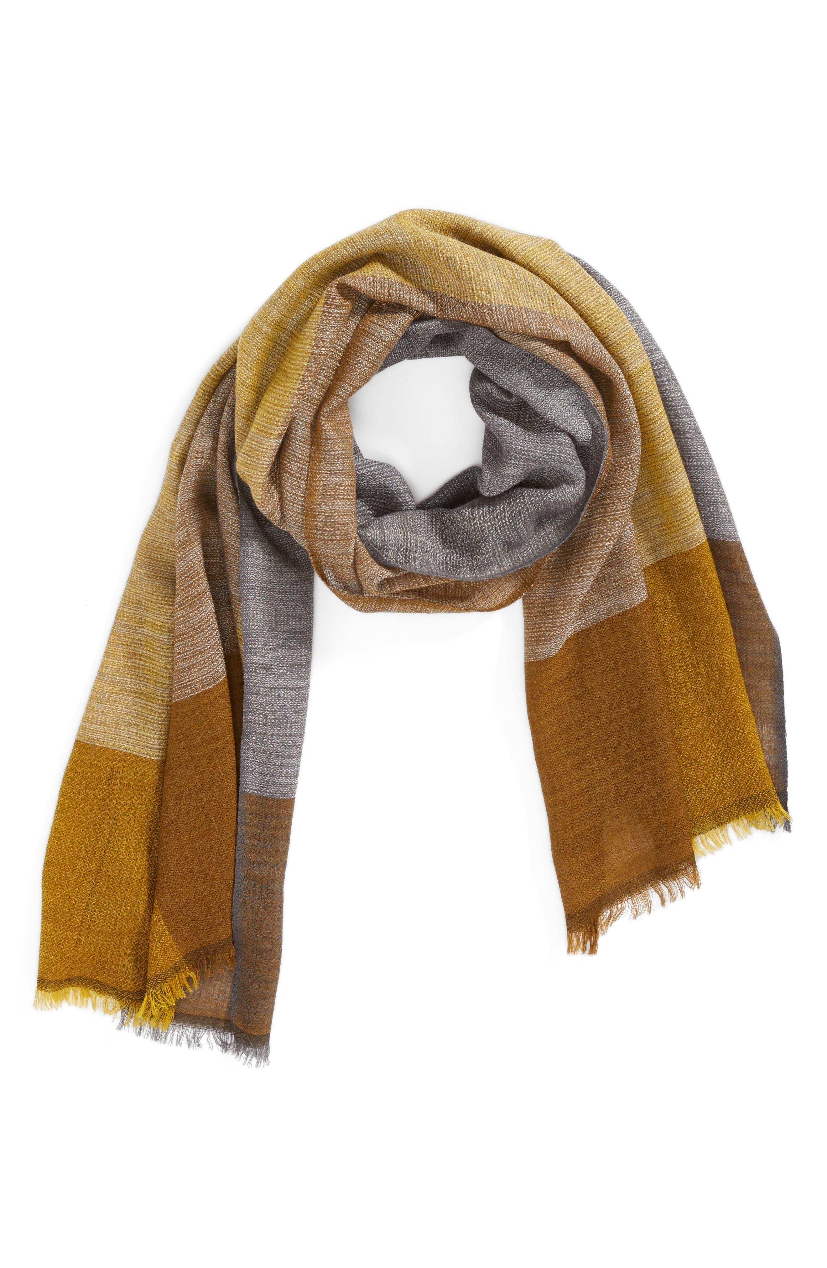 Colorblock Wool & Silk Scarf,                             Alternate thumbnail 6, color,