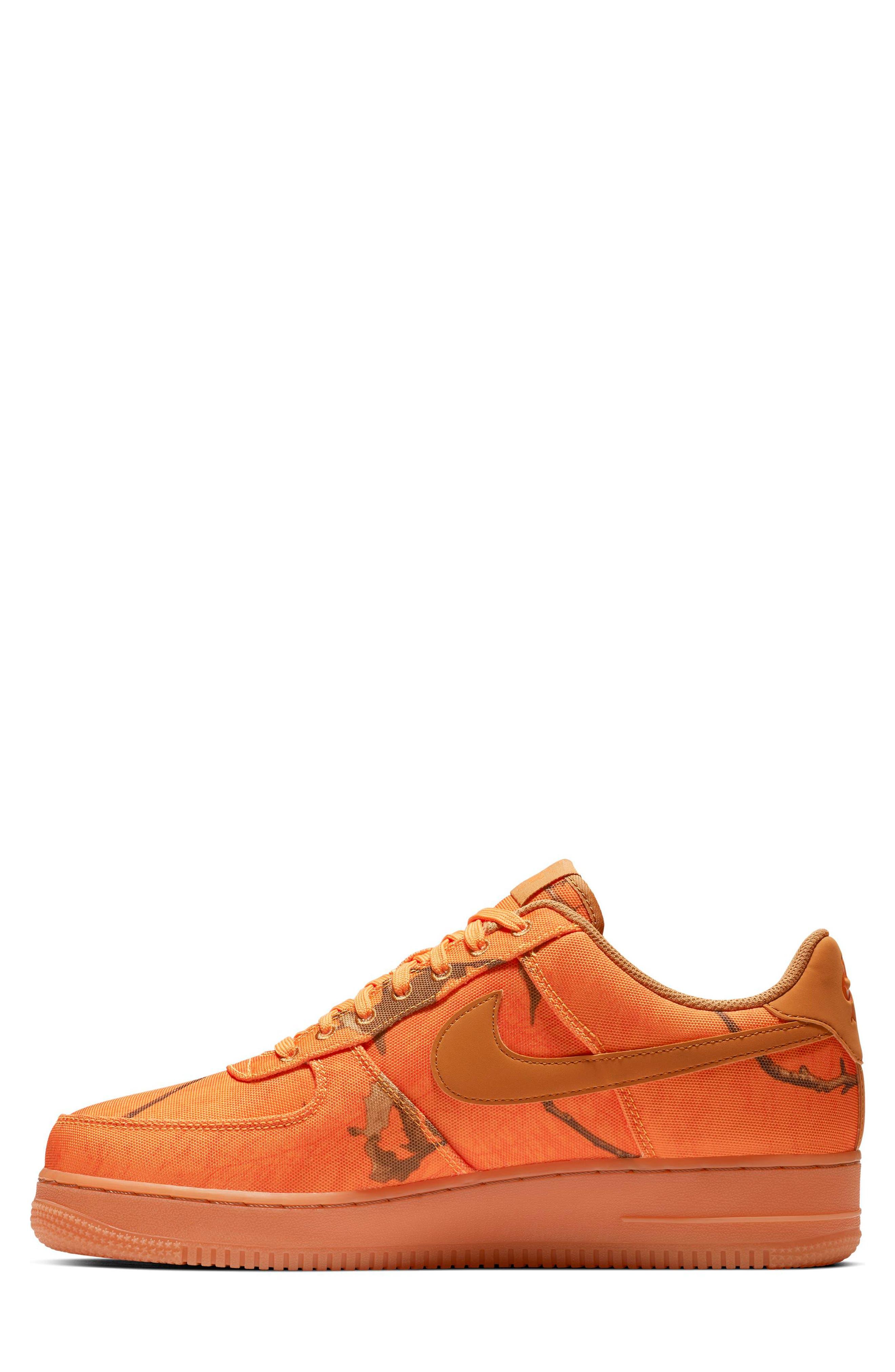 NIKE,                             Air Force 1 '07 LV8 3 Sneaker,                             Alternate thumbnail 3, color,                             ORANGE BLAZE/ WHITE/ BROWN