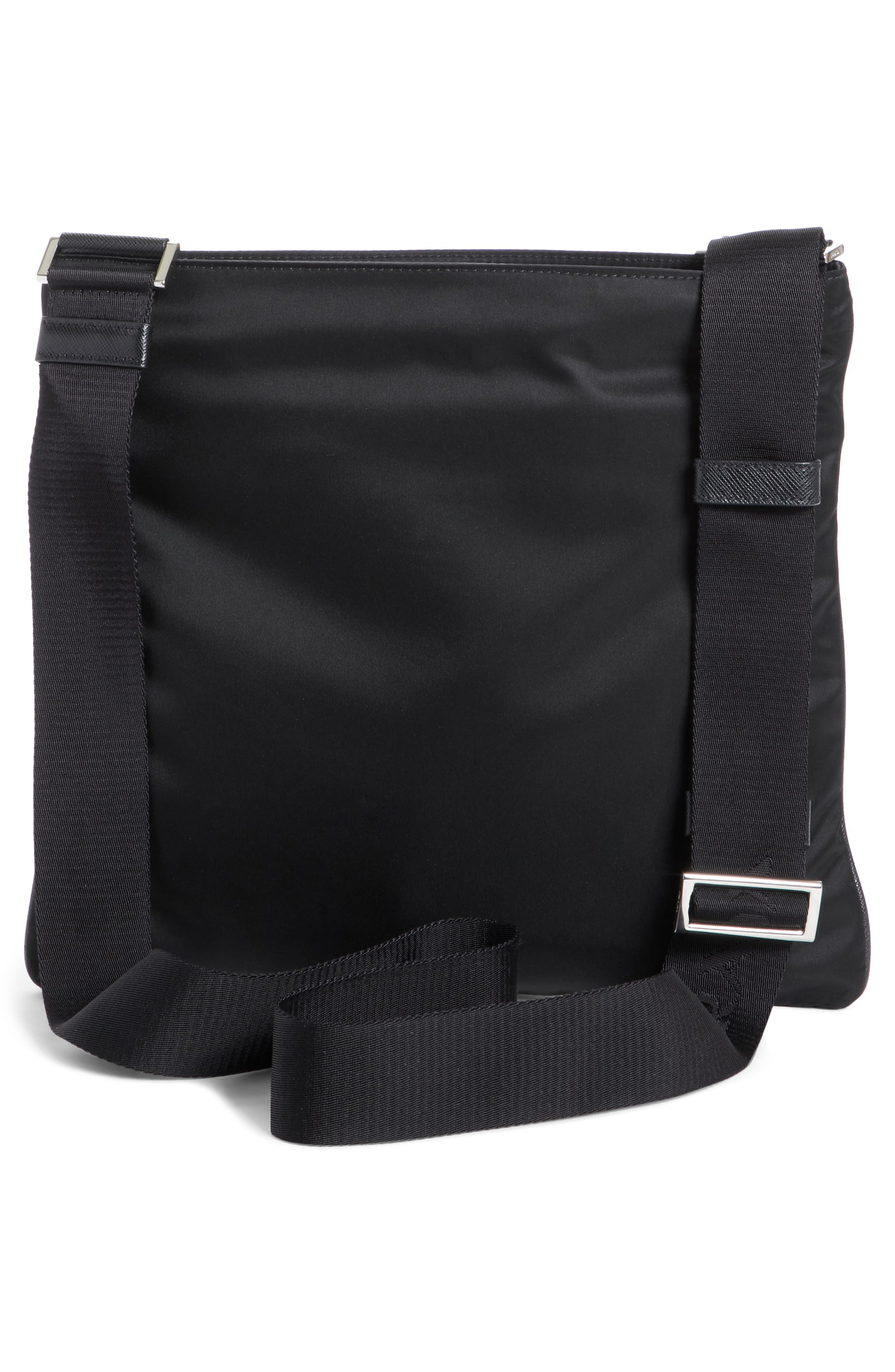 Slim Compact Messenger Bag,                             Alternate thumbnail 3, color,                             NERO