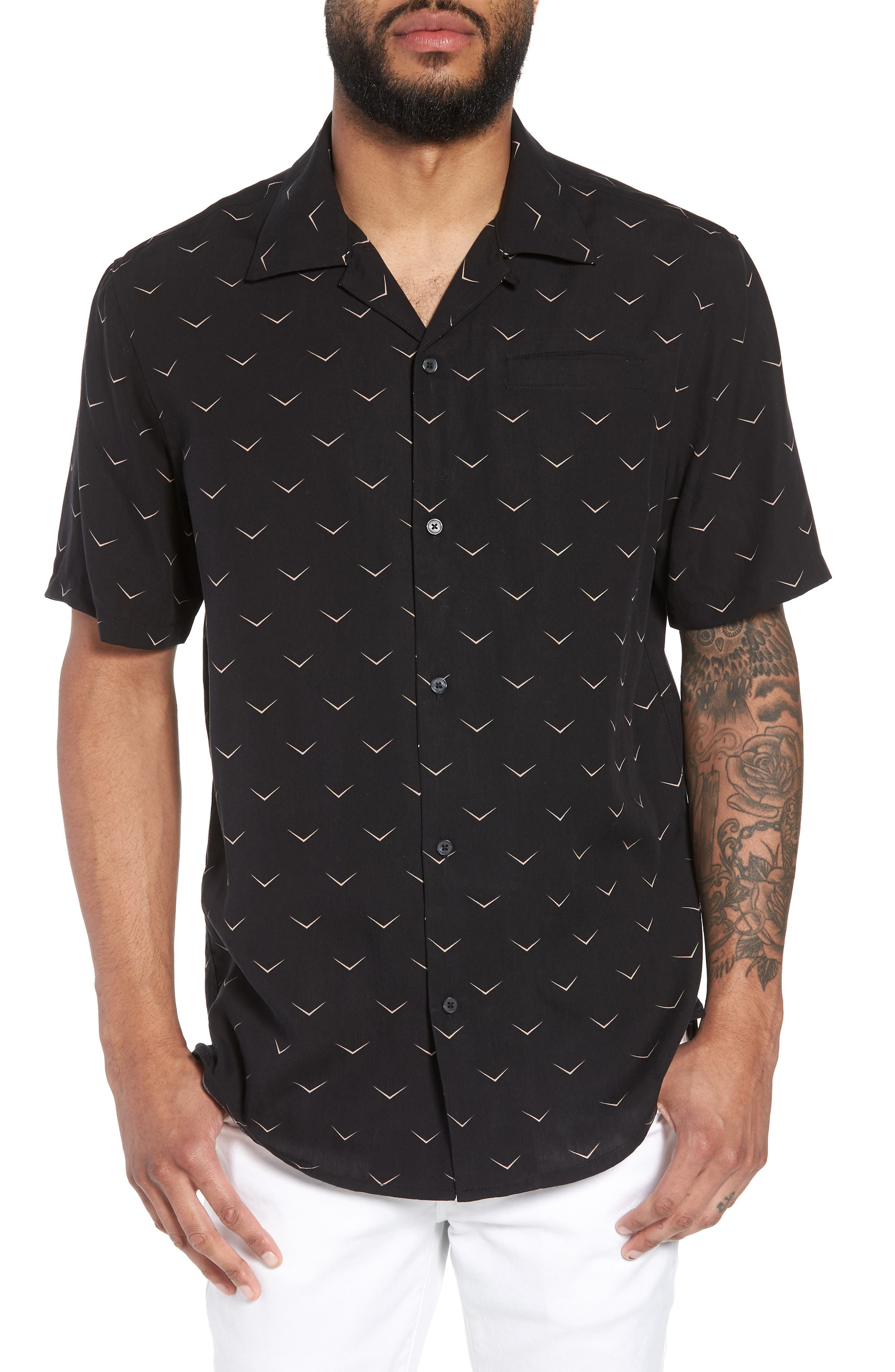 Hudson Regular Fit Print Short Sleeve Sport Shirt,                         Main,                         color, 001
